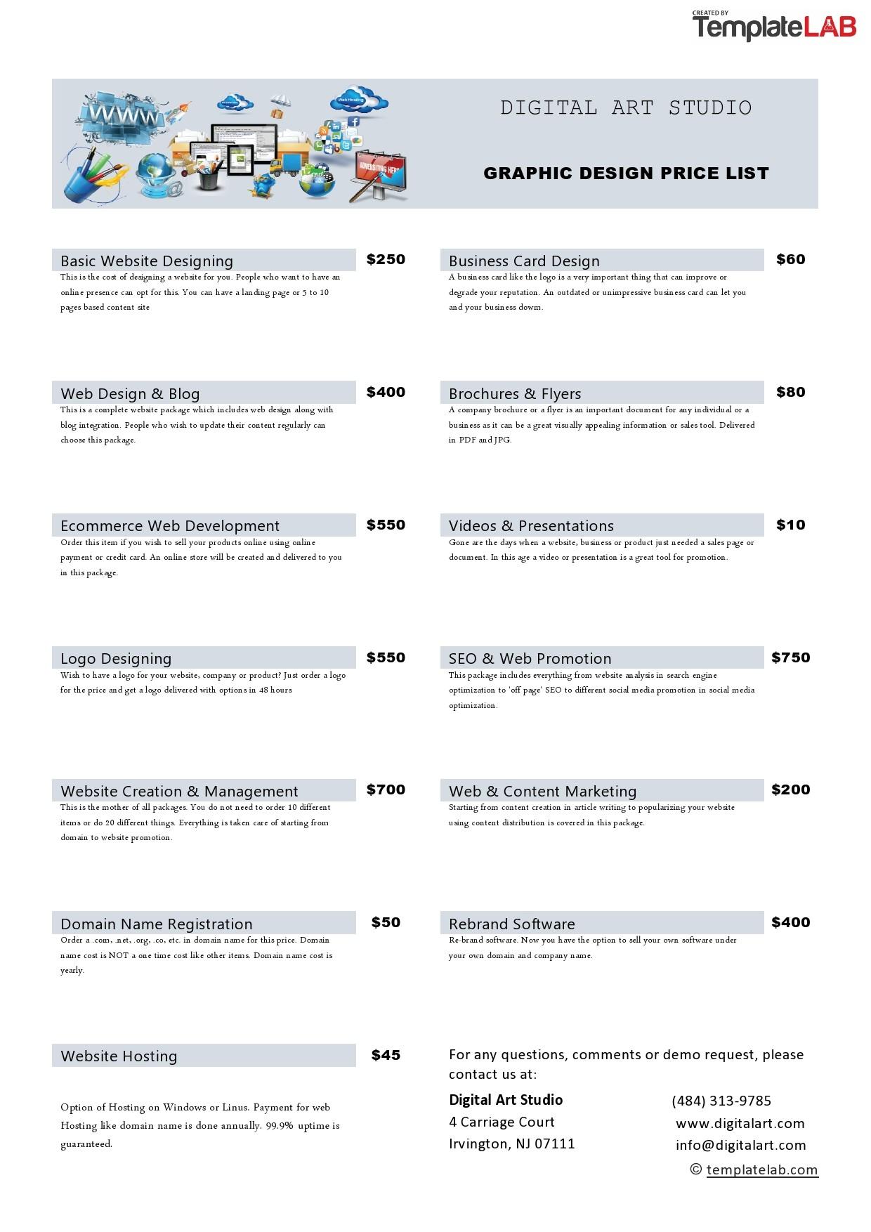 Free Graphic Design Price List Template - TemplateLab