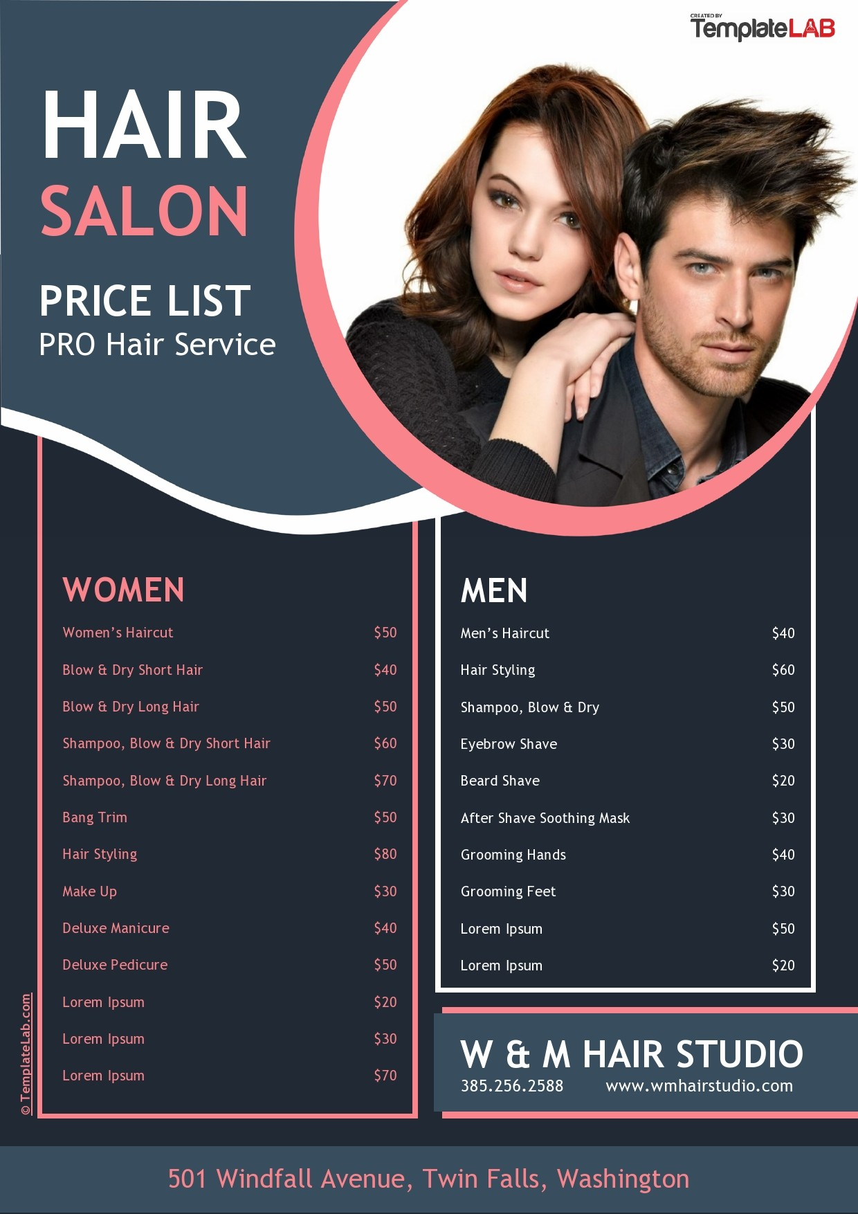 Salon Price List Template Free from templatelab.com