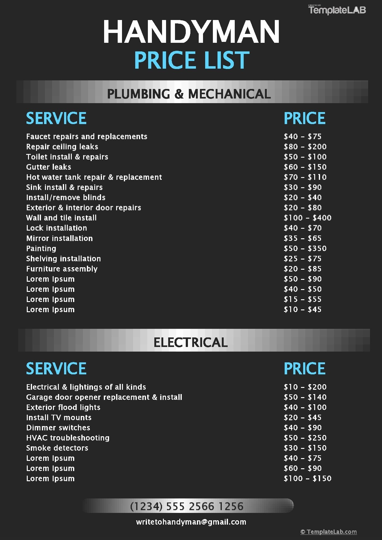 Free Handyman Price List Template - TemplateLab.com