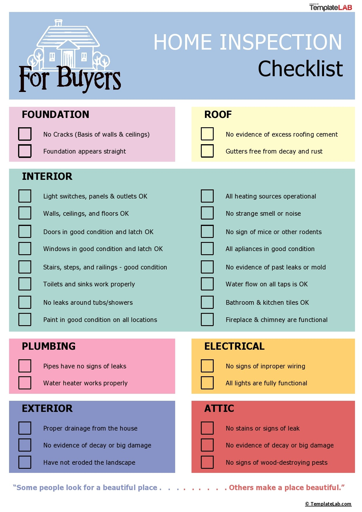 Free Home Inspection Checklist for Buyers - TemplateLab.com