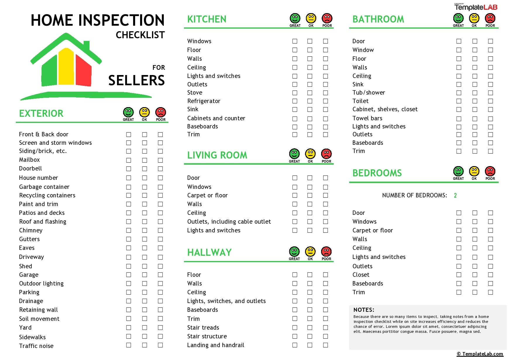 Free Home Inspection Checklist for Sellers - TemplateLab.com