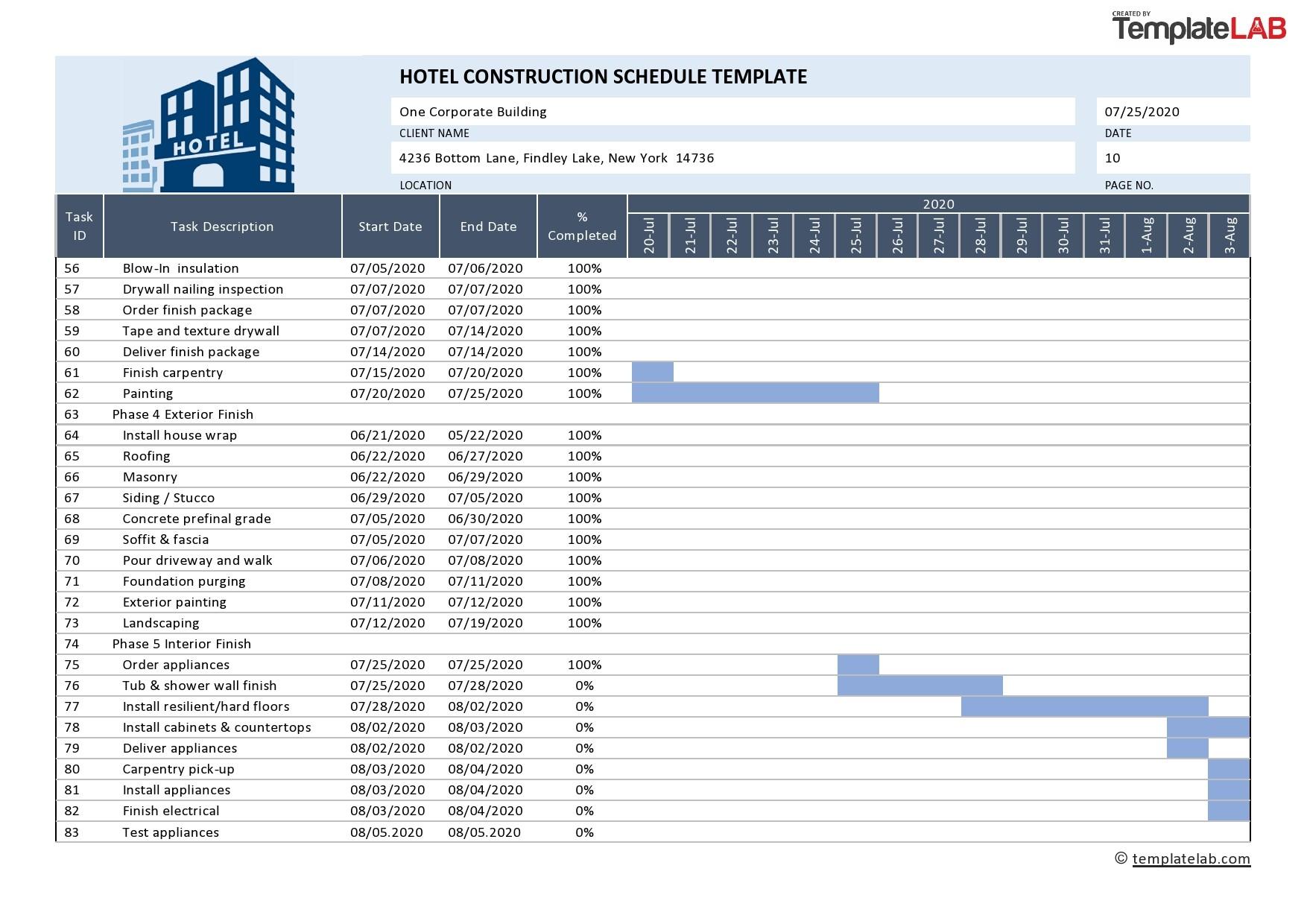 Free Hotel Construction Schedule - TemplateLab