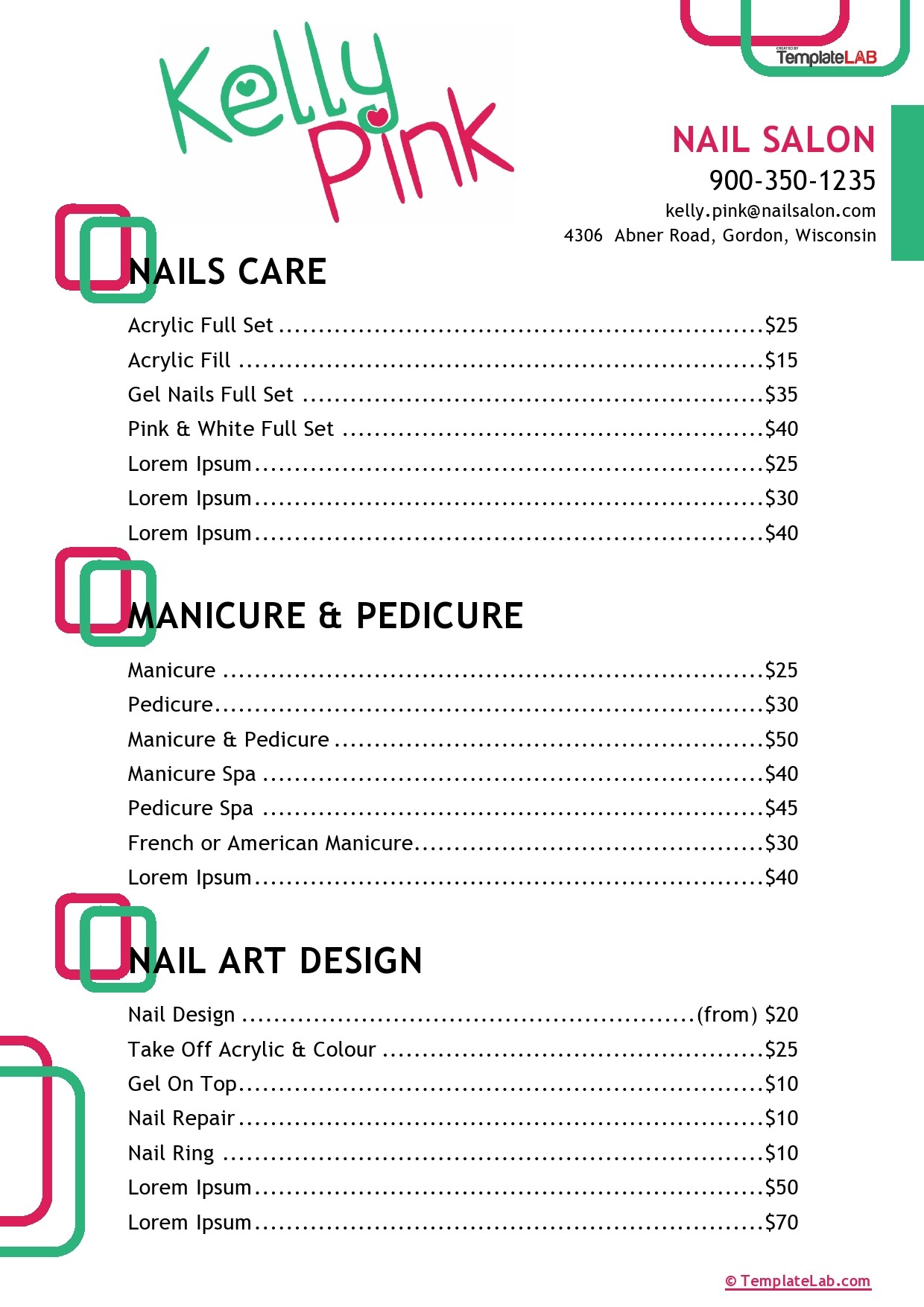 Free Nail Salon Price List Template - TemplateLab.com