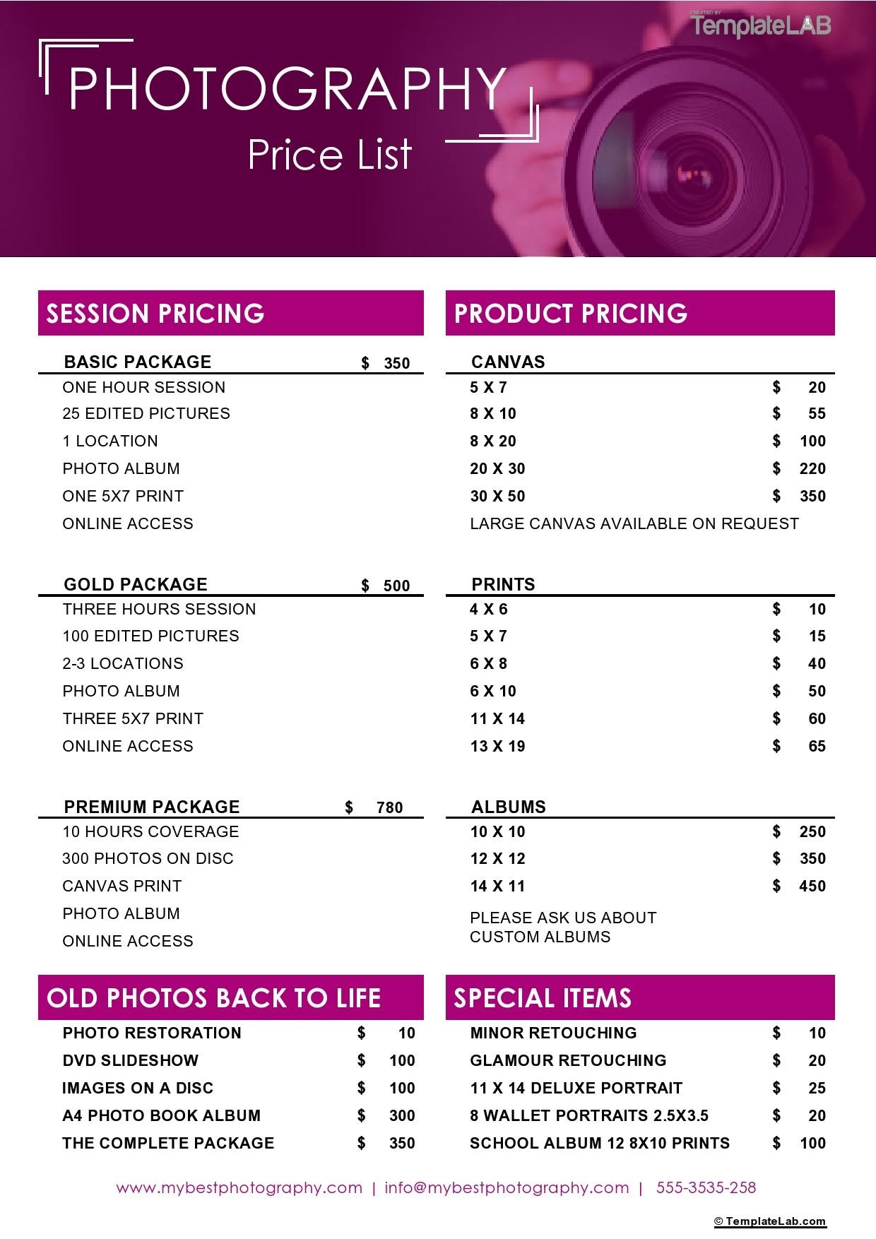Free Photography Price List Template - TemplateLab.com