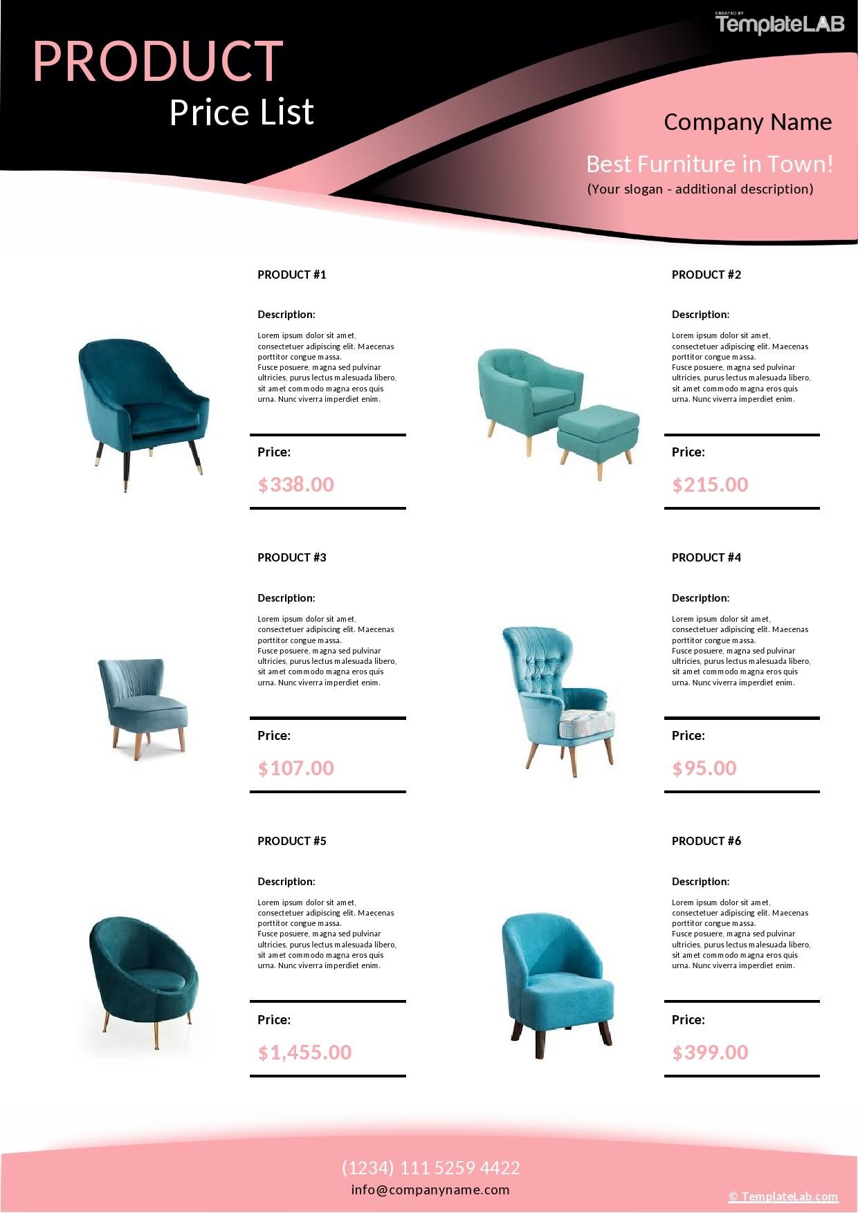 Free Product Price List Template - TemplateLab.com