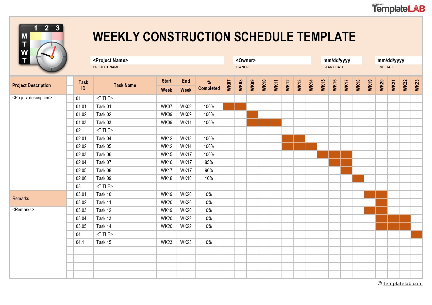 Free Weekly Construction Schedule - TemplateLab