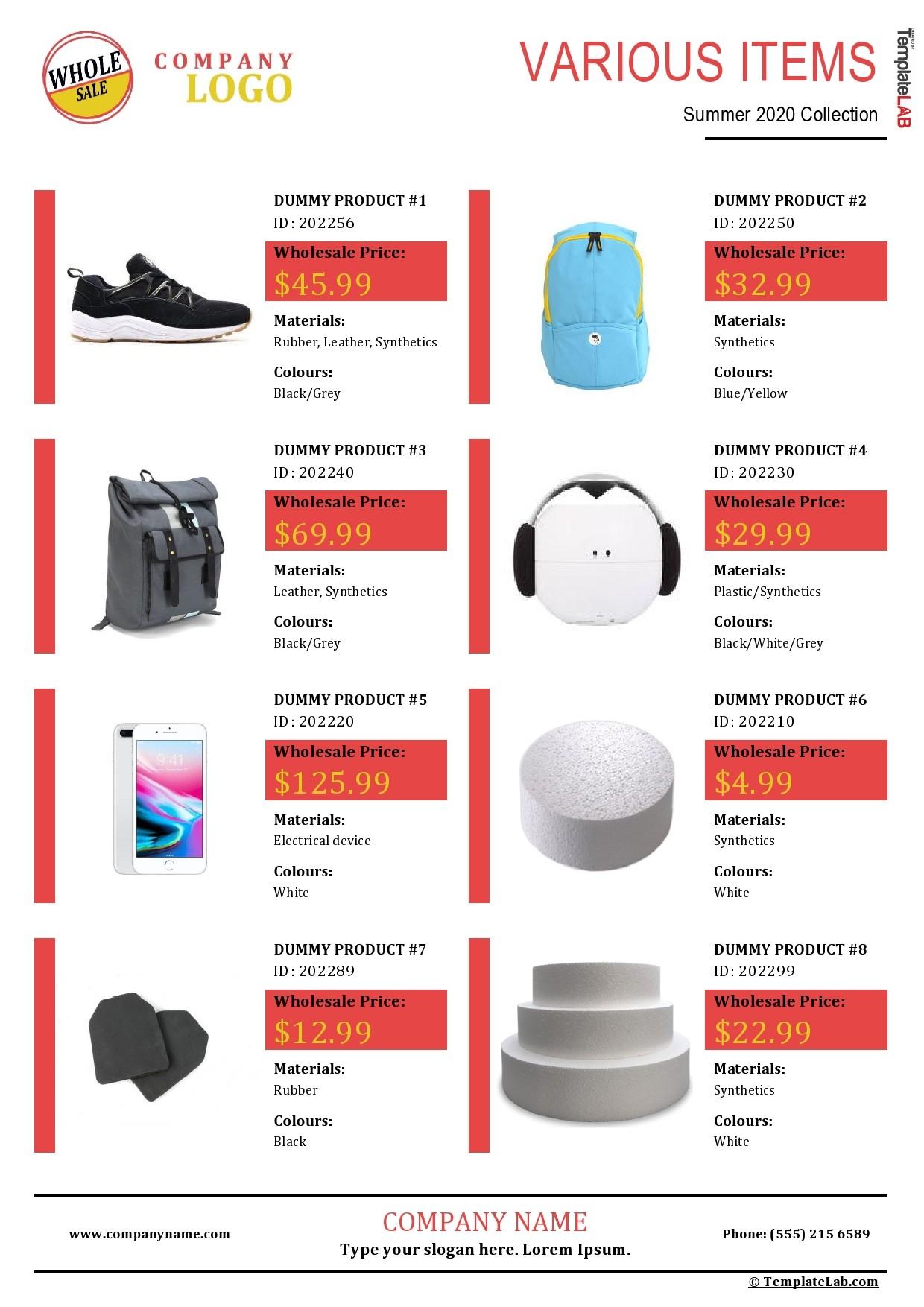 Free Wholesale Price List Template - TemplateLab.com