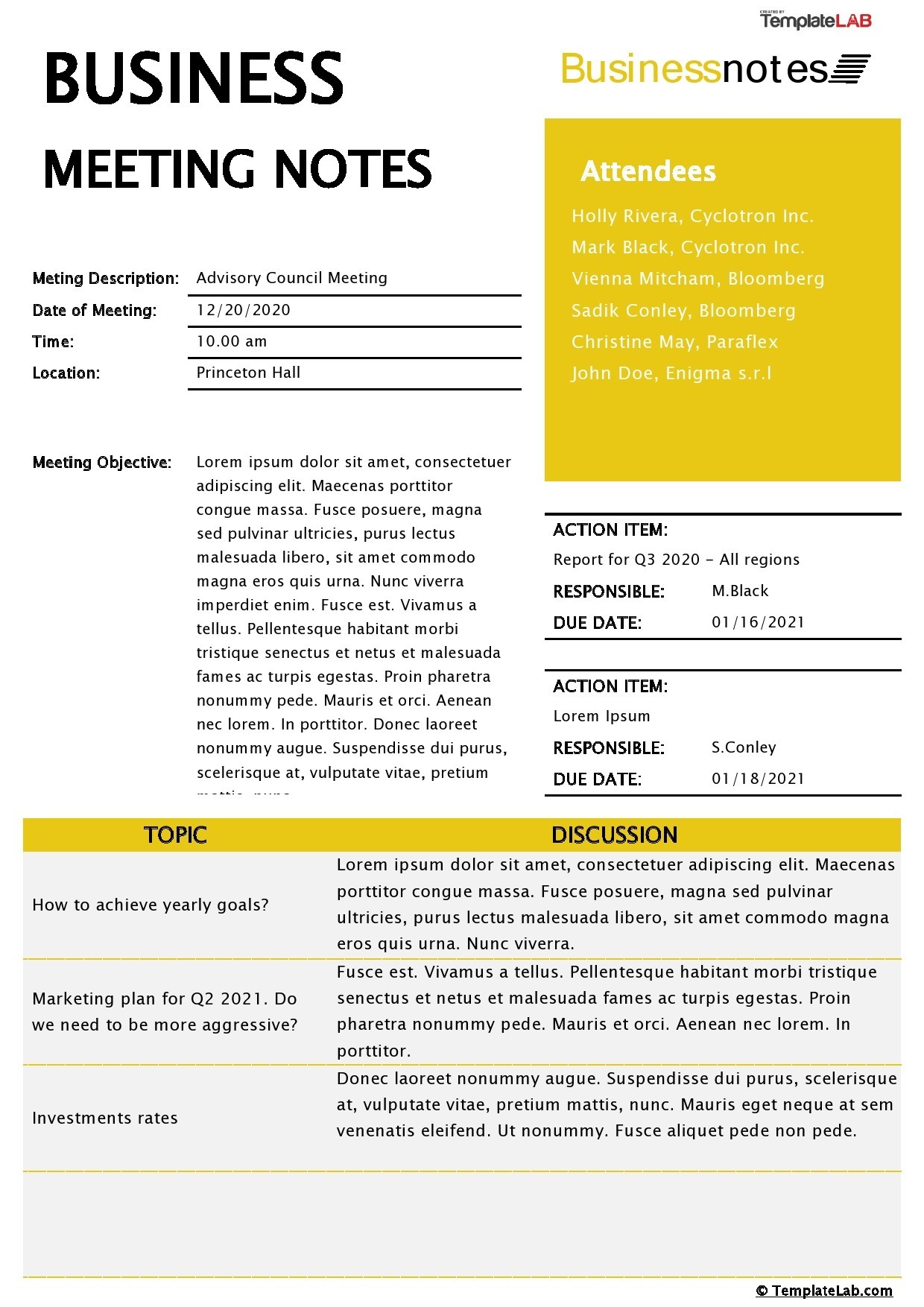 Free Business Meeting Notes Template - TemplateLab.com