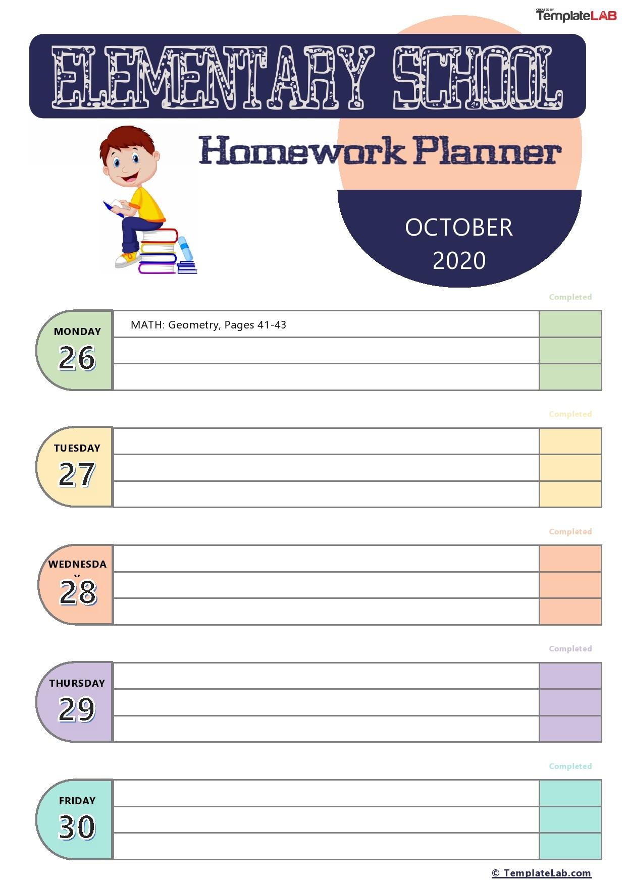 Free Elementary School Homework Planner Template - TemplateLab.com