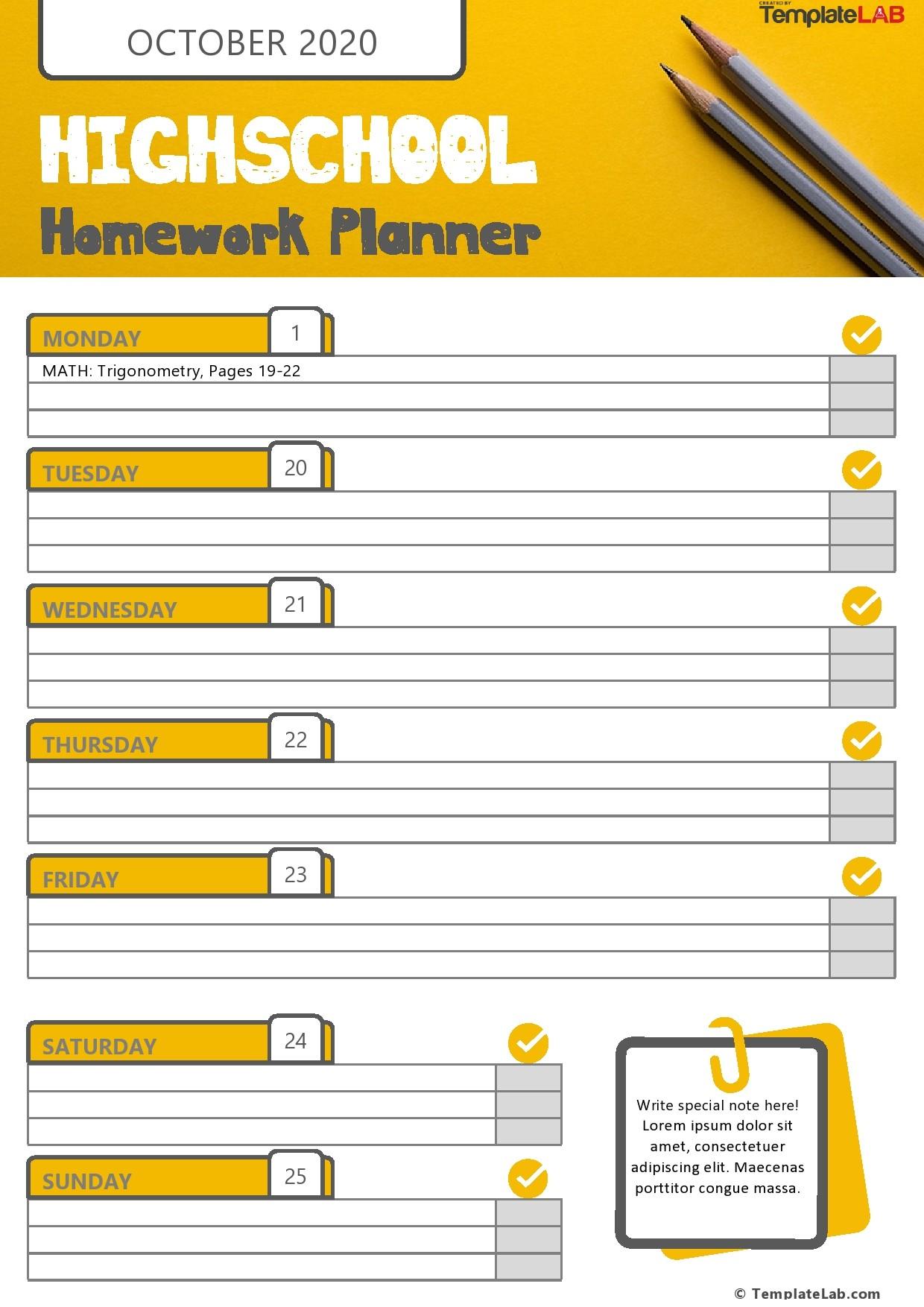 Free Highschool Homework Planner Template - TemplateLab.com