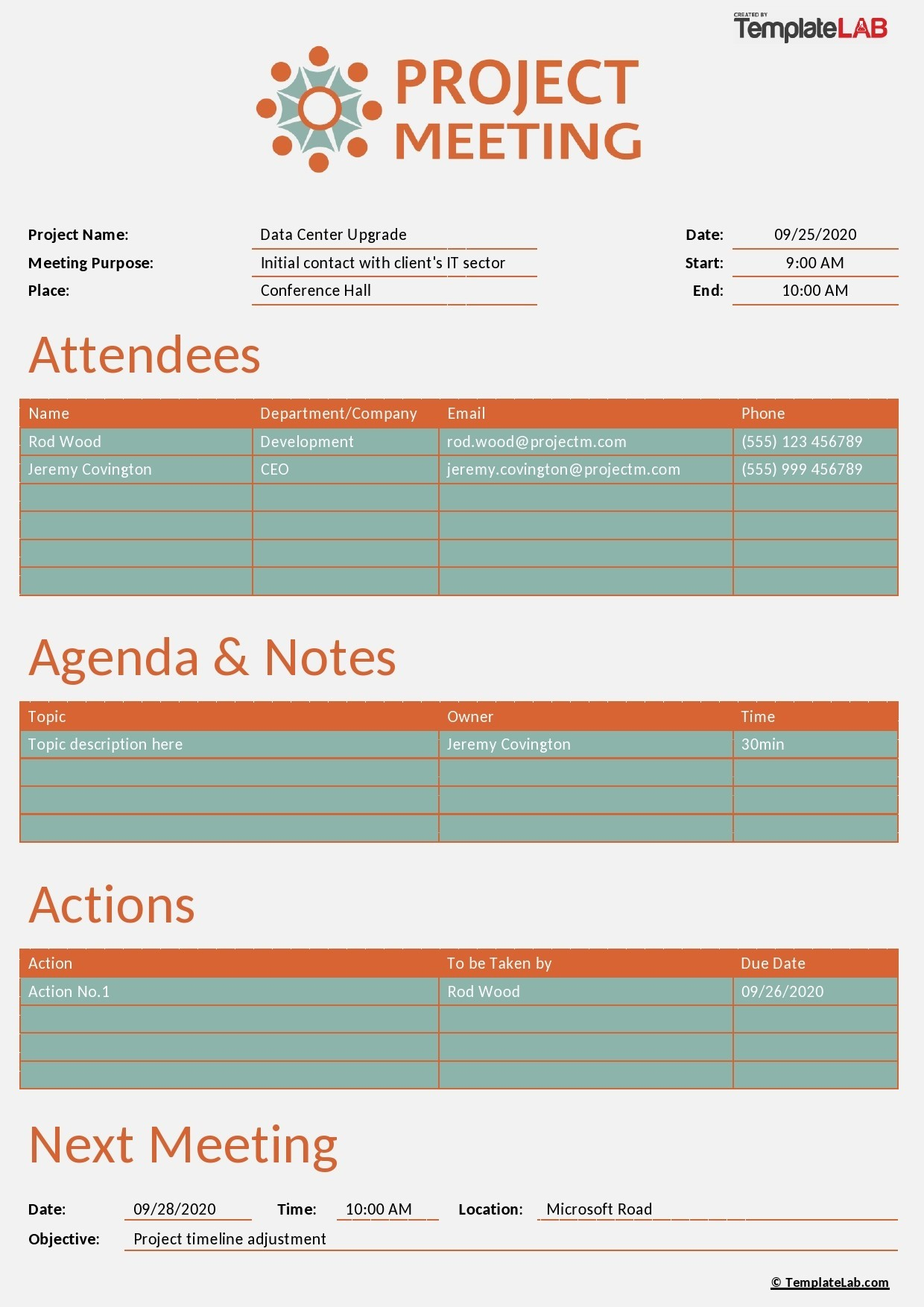 Free Project Meeting Notes Template - TemplateLab.com