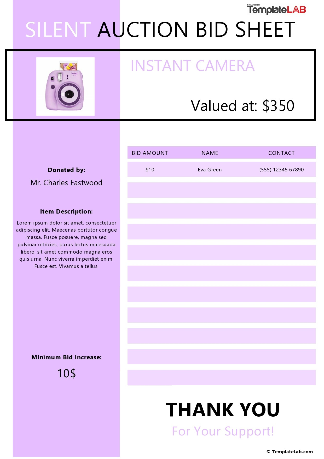 Free Silent Auction Bid Sheet Template 02 - TemplateLab.com