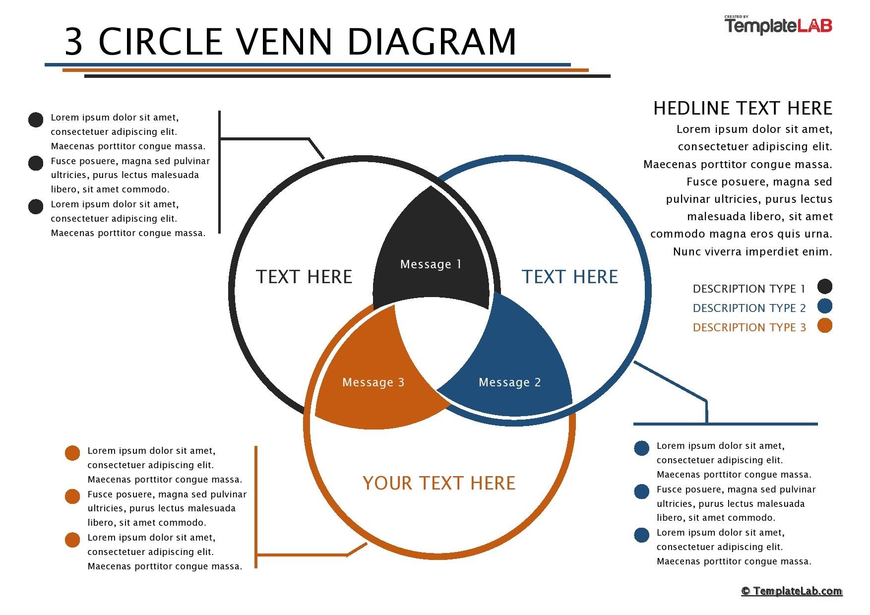 Free 3 Circle Venn Diagram Template 02 - TemplateLab.com