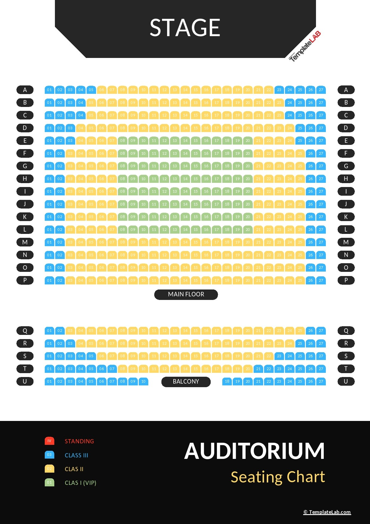 Free Auditorium Seating Chart Template - TemplateLab.com