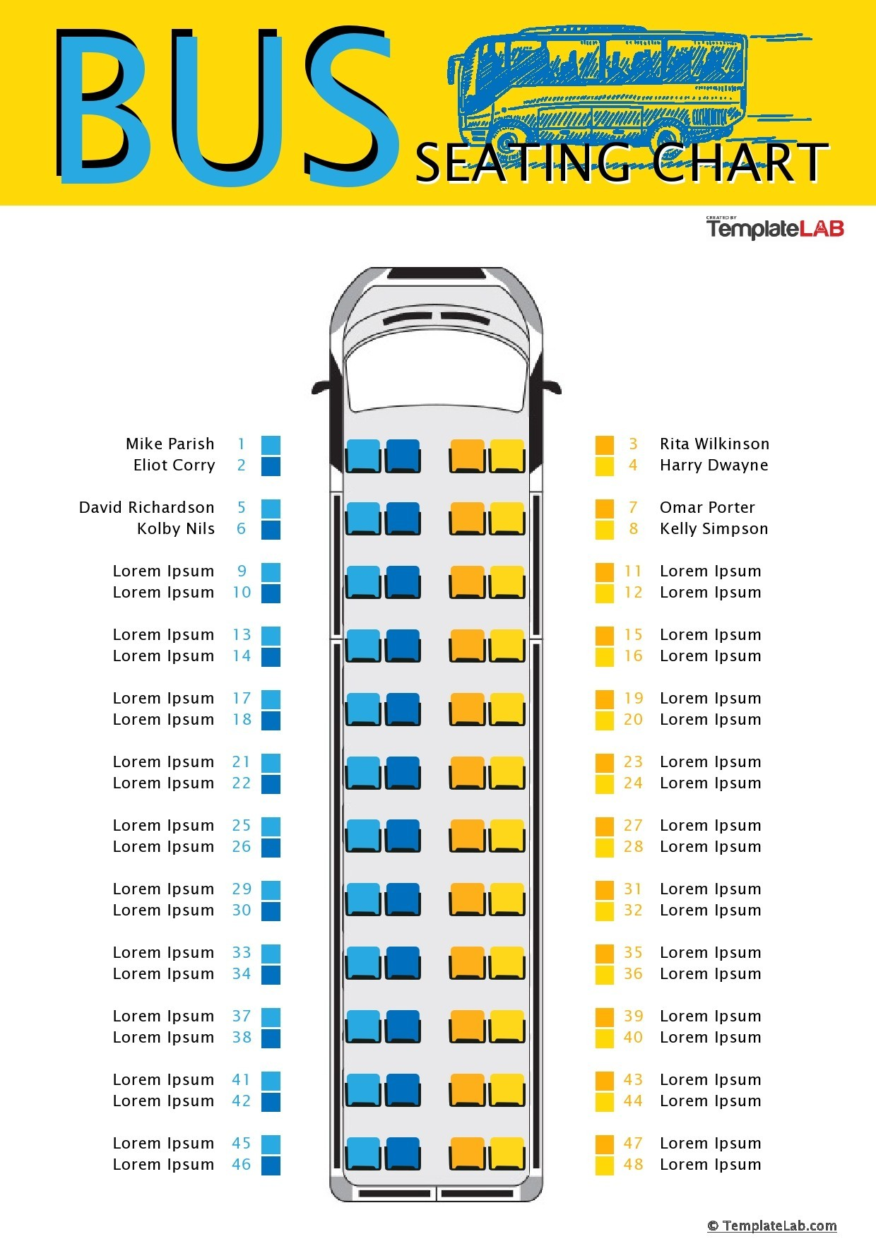Free Bus Seating Chart Template - TemplateLab.com