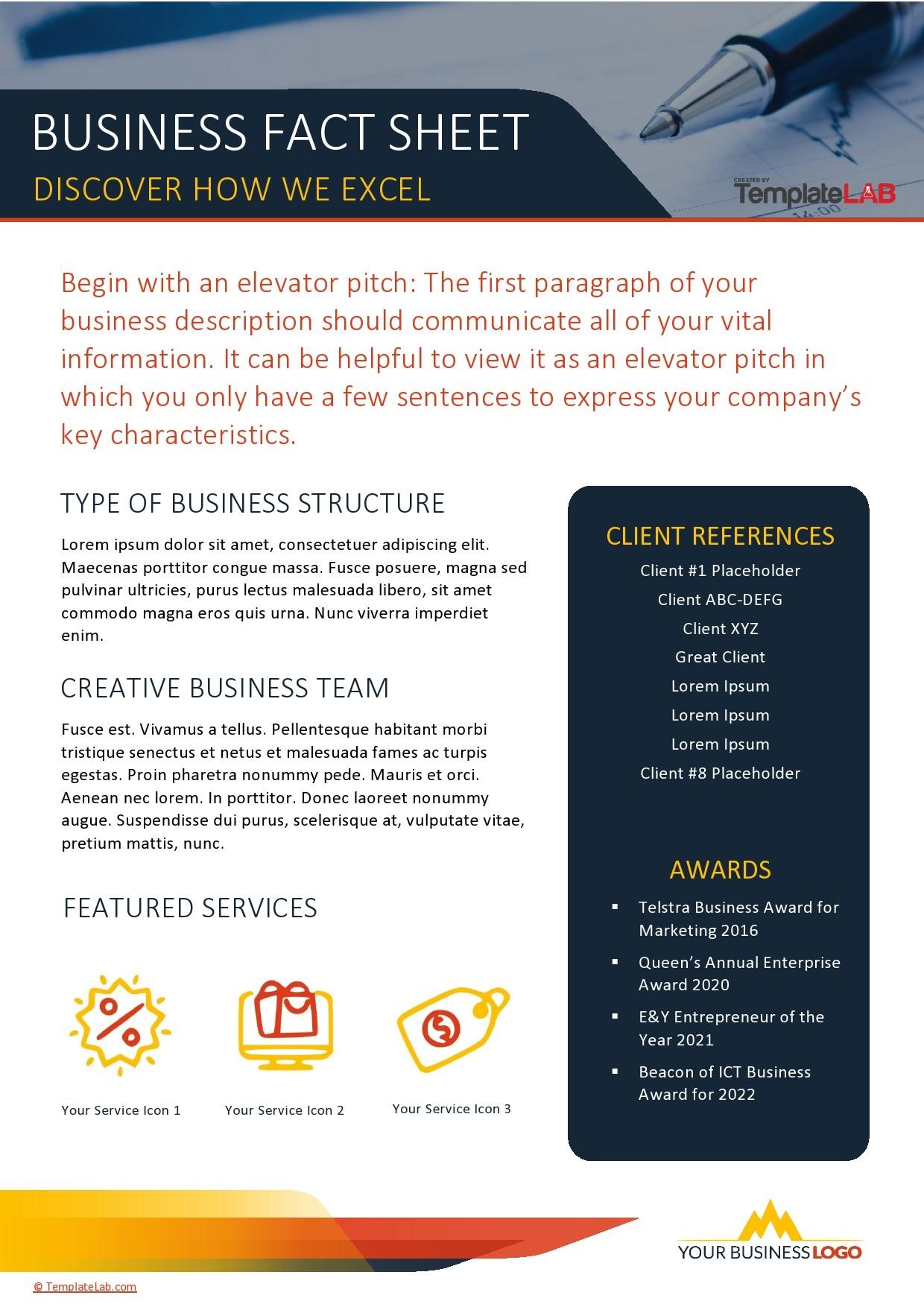 Free Business Fact Sheet Template - TemplateLab.com