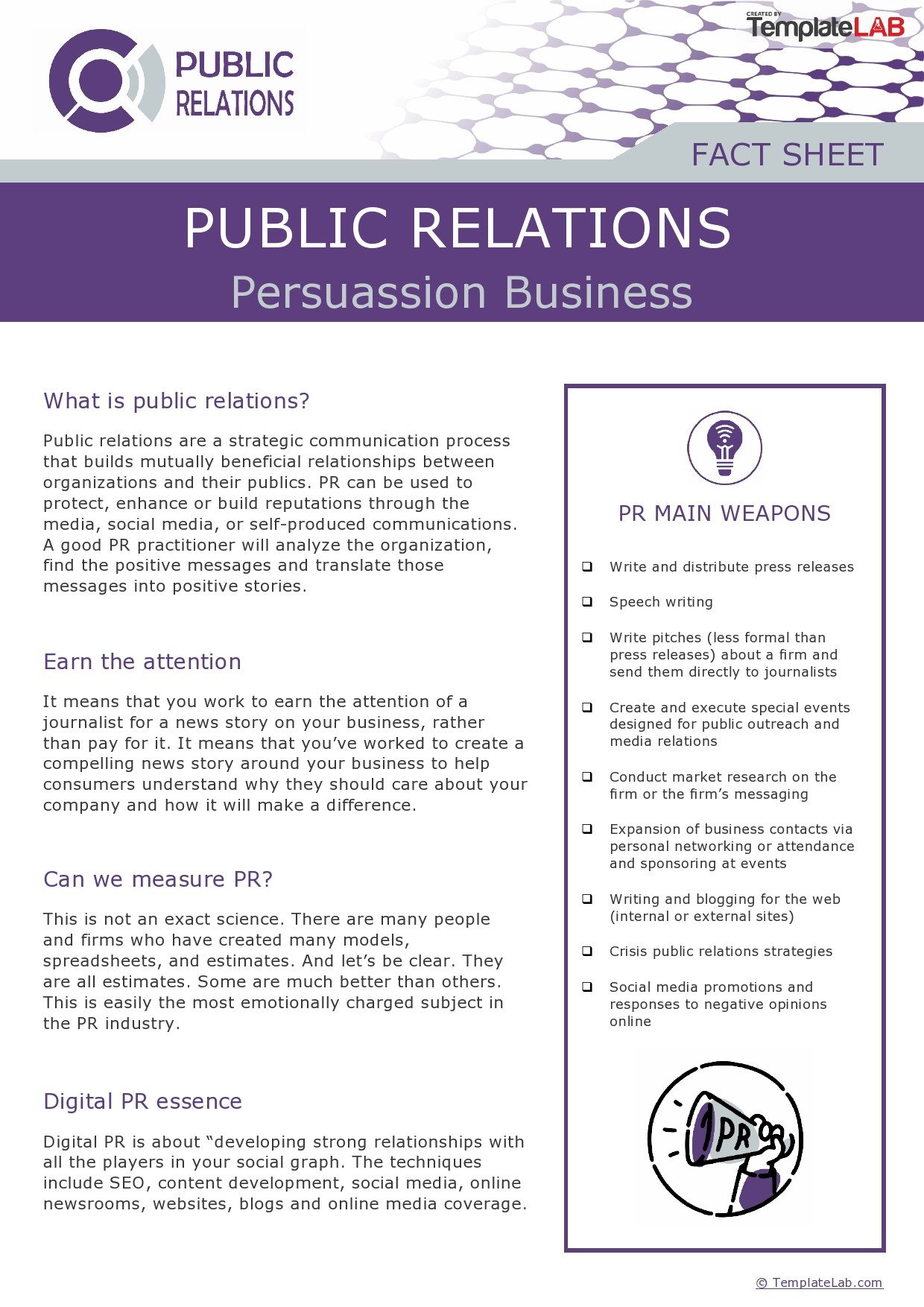 Free Public Relations Fact Sheet Template - TemplateLab.com