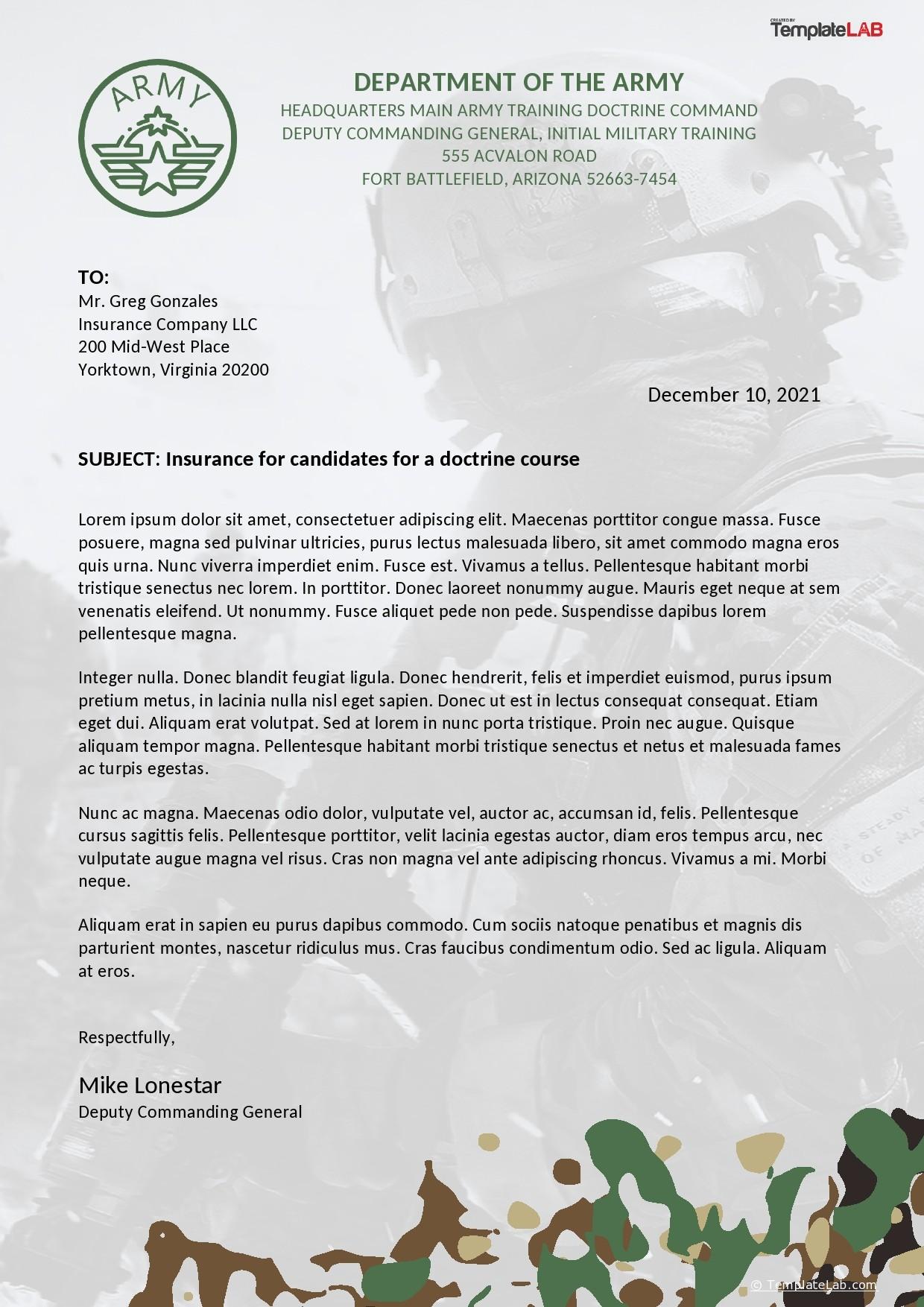 Free Army Letterhead Template - TemplateLab.com