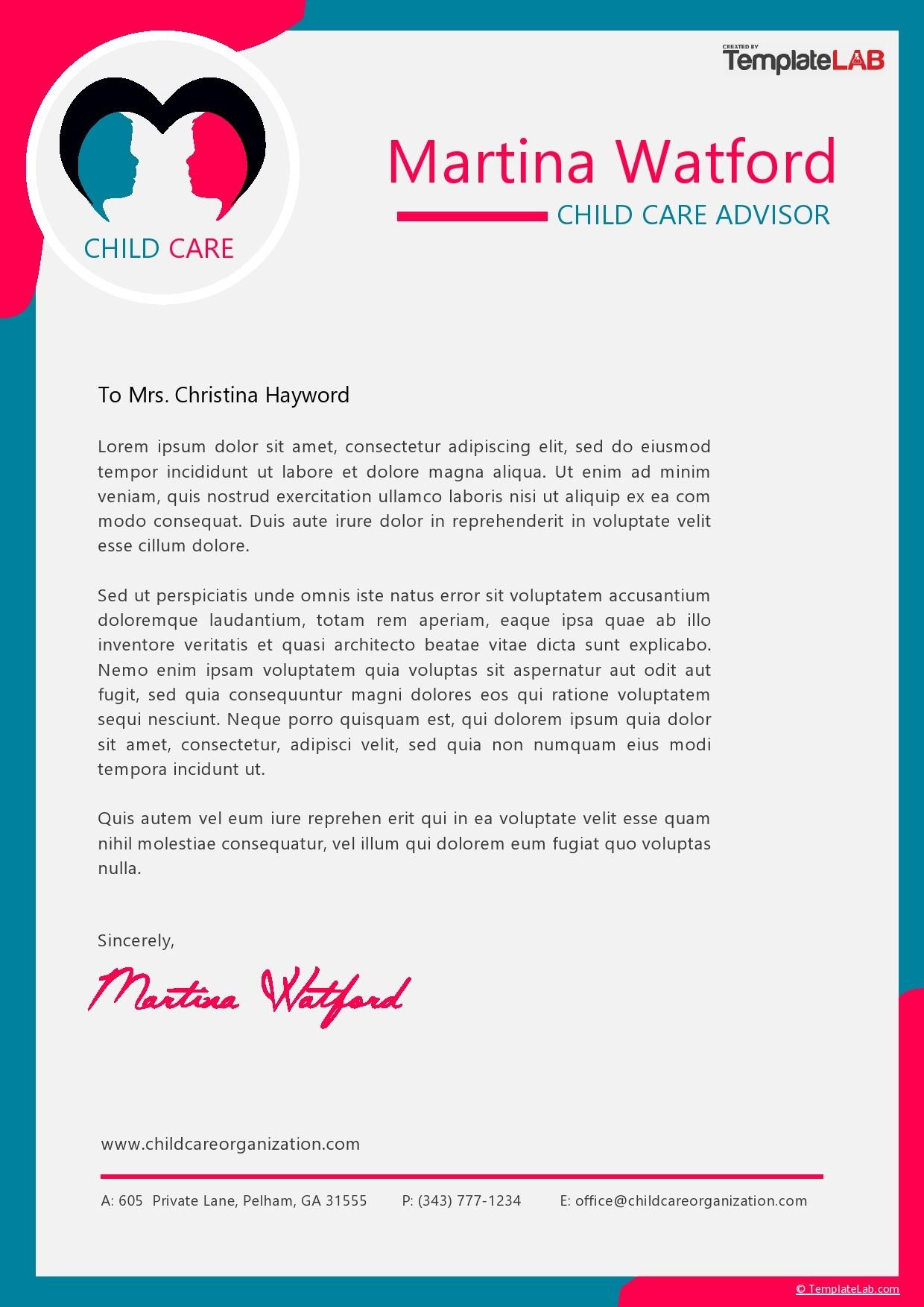 Free Child Care Letterhead Template - TemplateLab.com