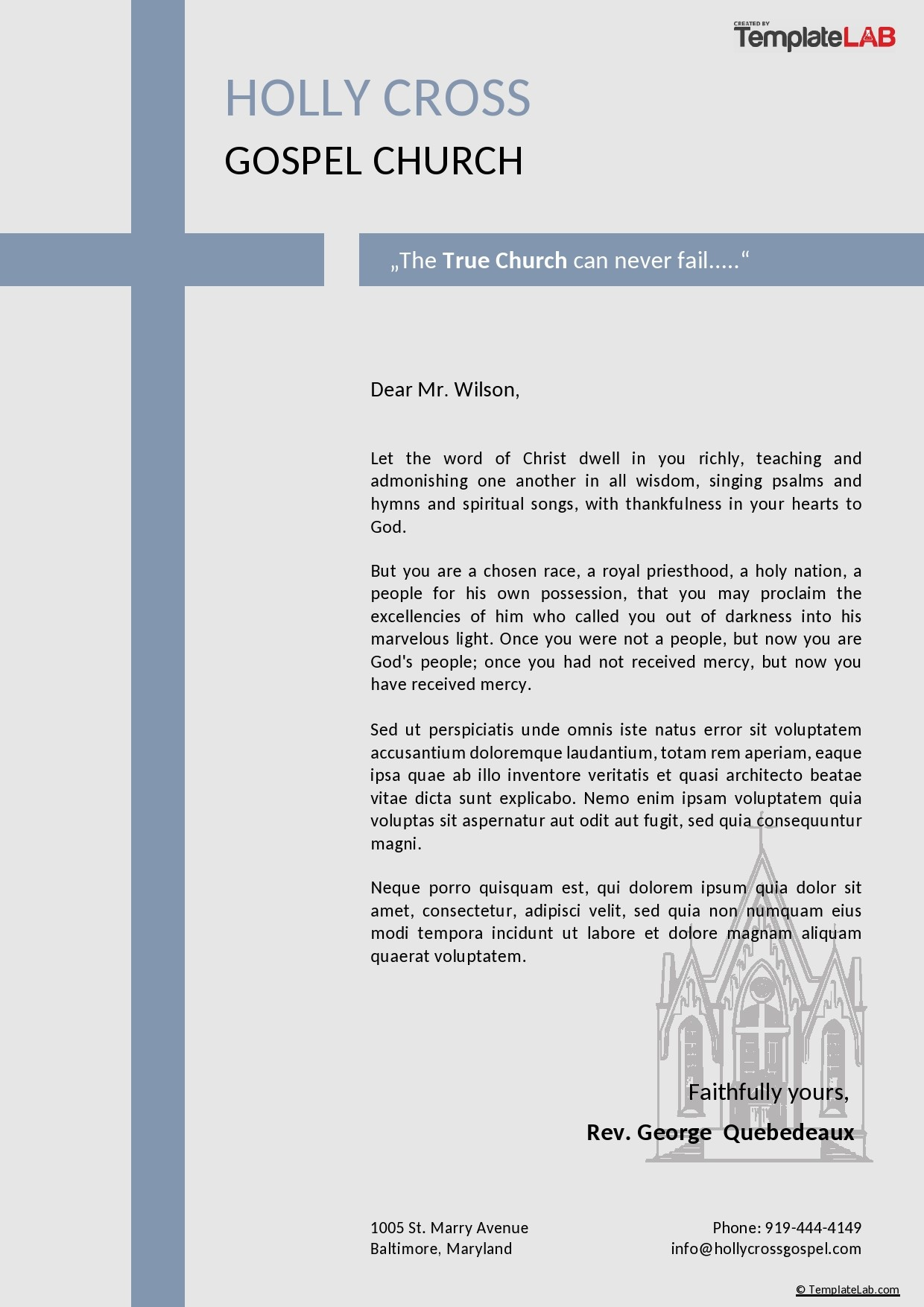 Free Church Letterhead Template - TemplateLab.com
