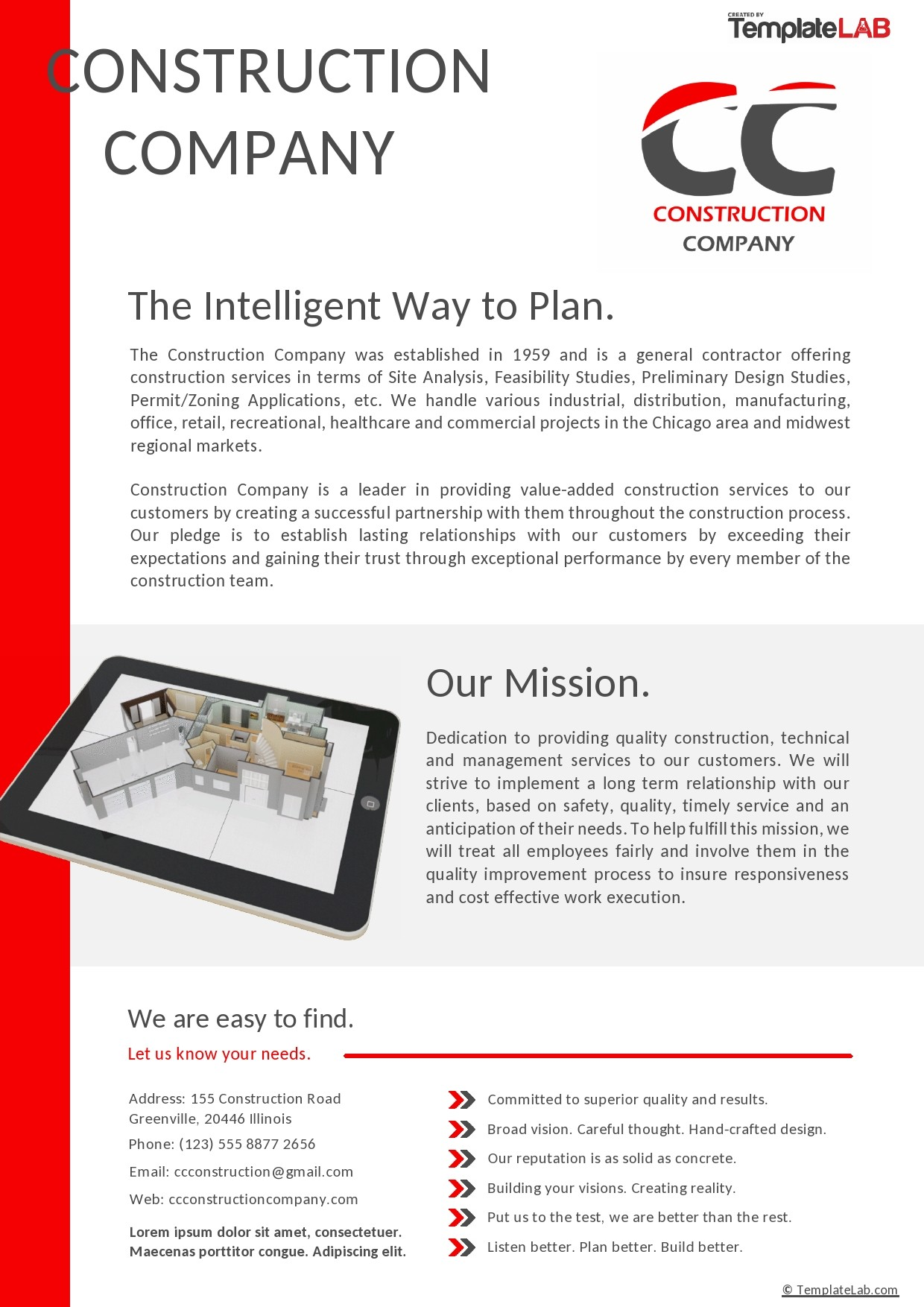 Free Construction Company Profile Template - TemplateLab.com