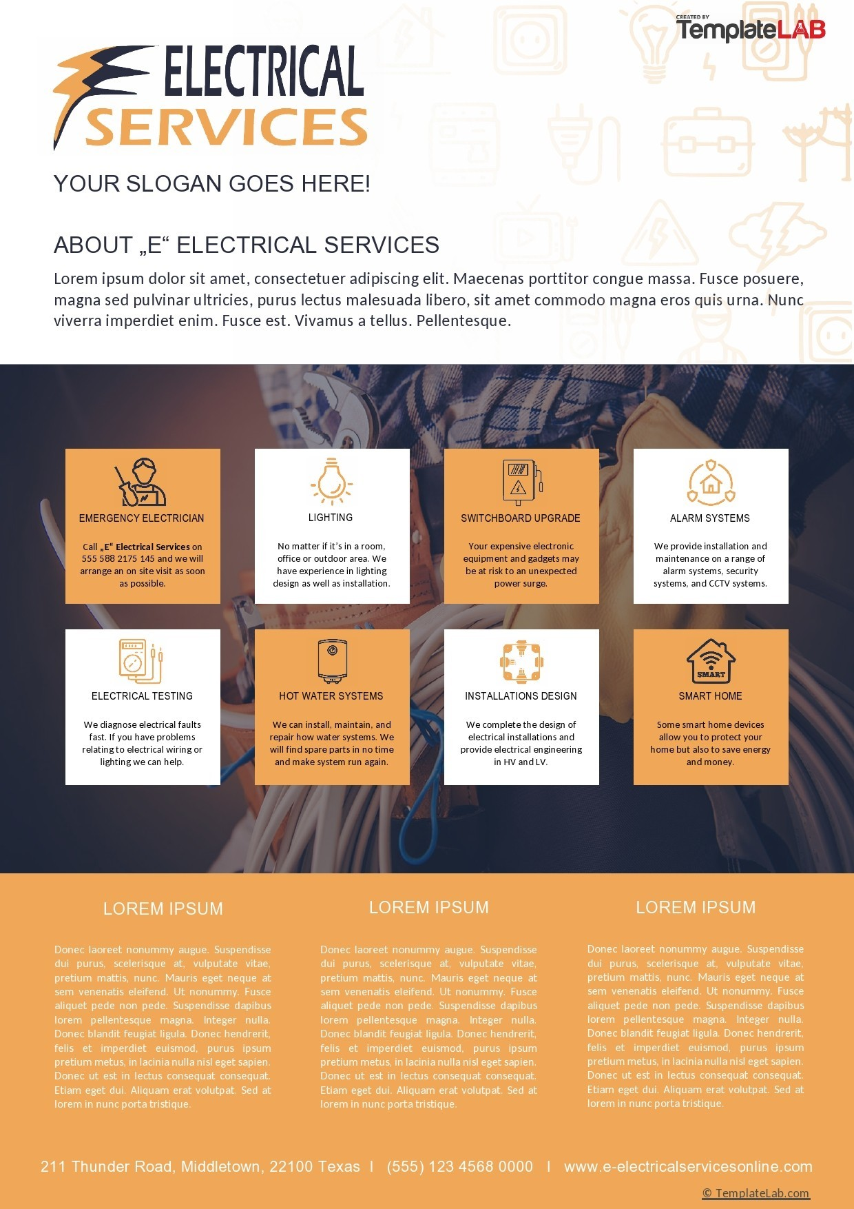 Free Electrical Services Company Profile Template - TemplateLab.com