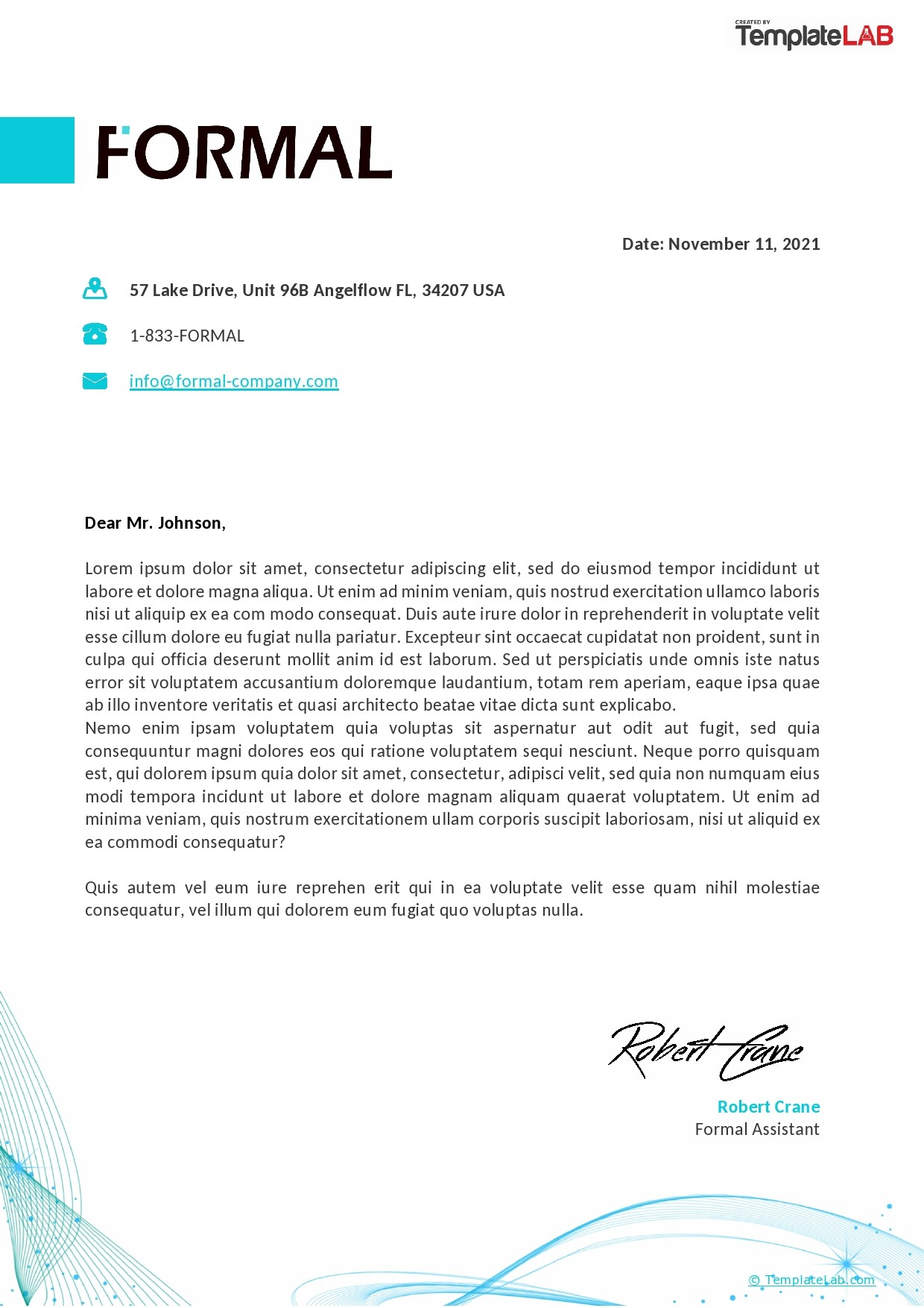 Free Formal Letterhead Template - TemplateLab.com