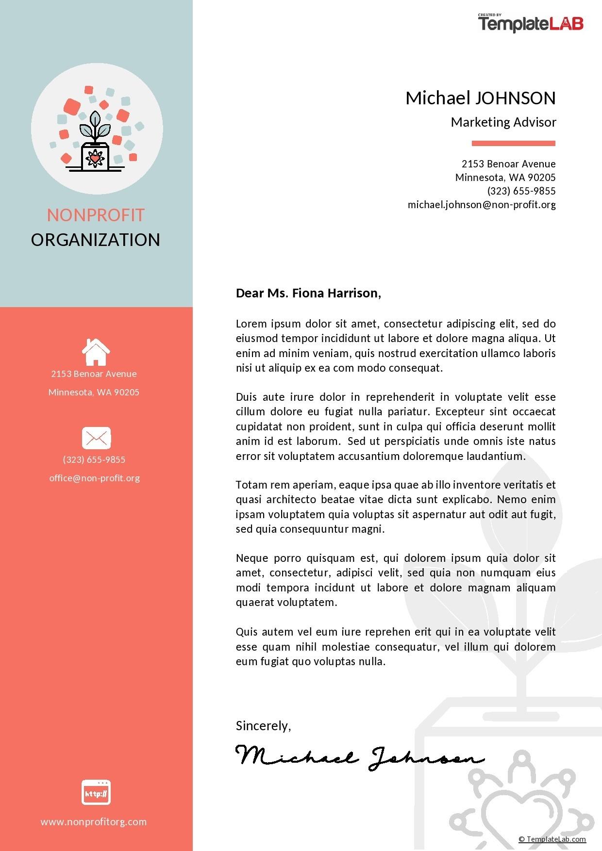 Free Nonprofit Letterhead Template - TemplateLab.com