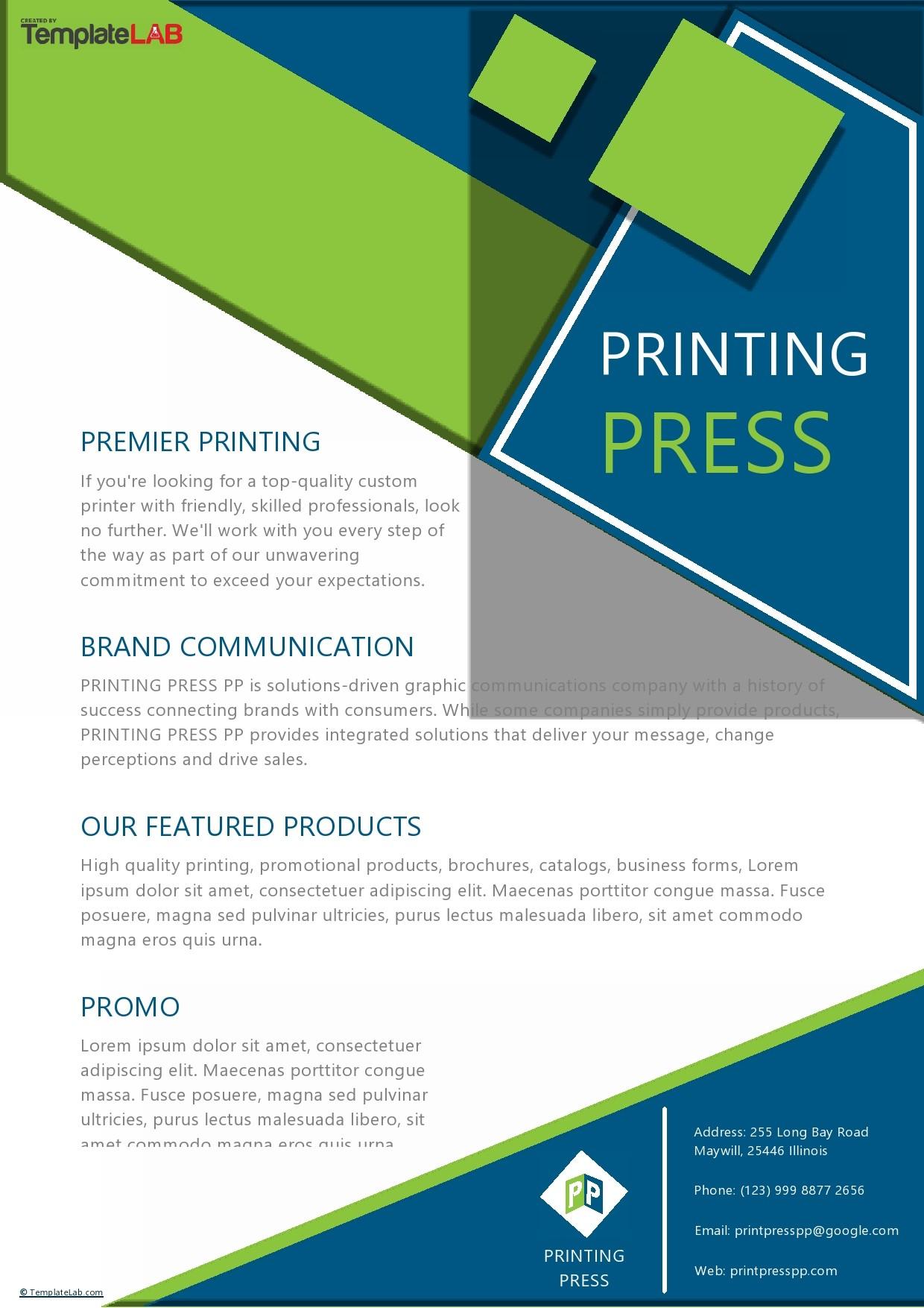 Free Printing Press Company Profile Template - TemplateLab.com