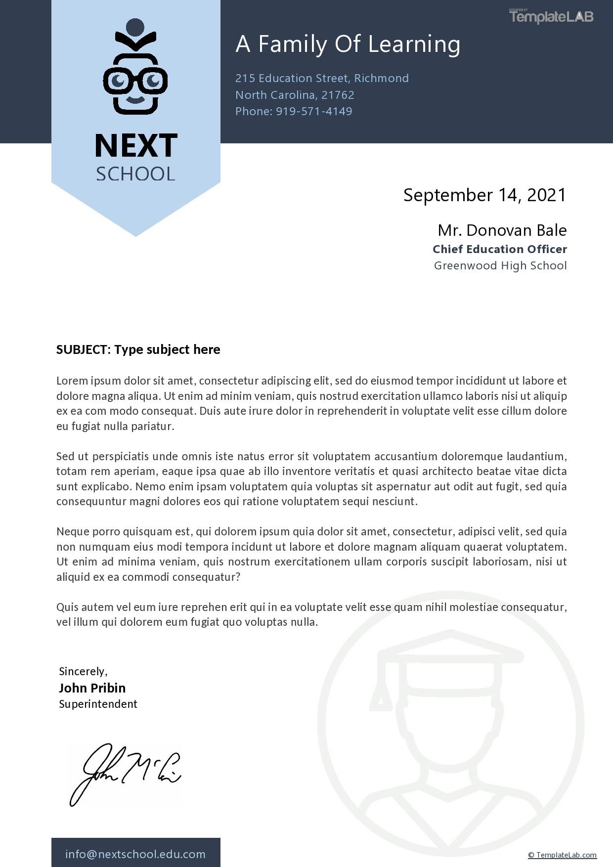 Free School Letterhead Template - TemplateLab.com
