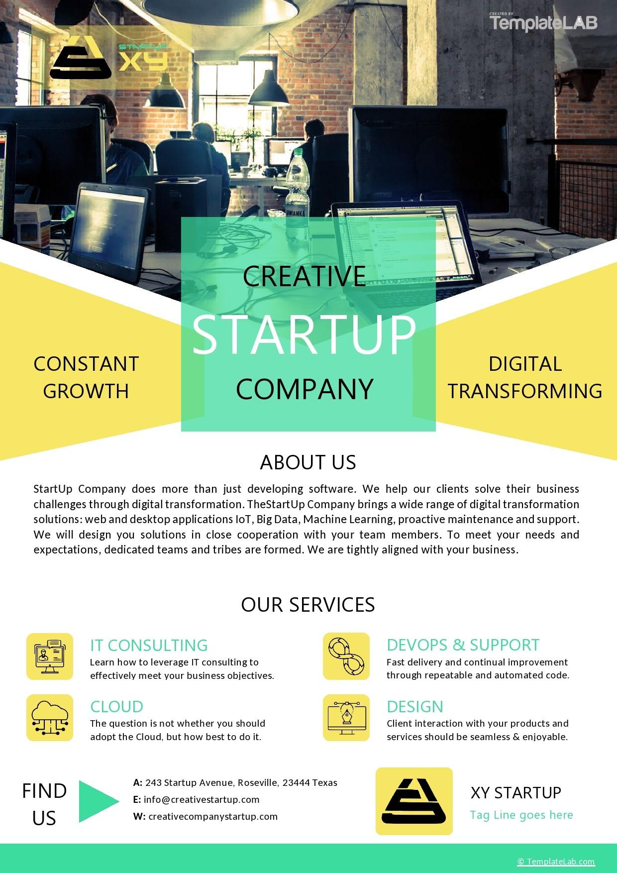 Free Startup Company Profile Template - TemplateLab.com
