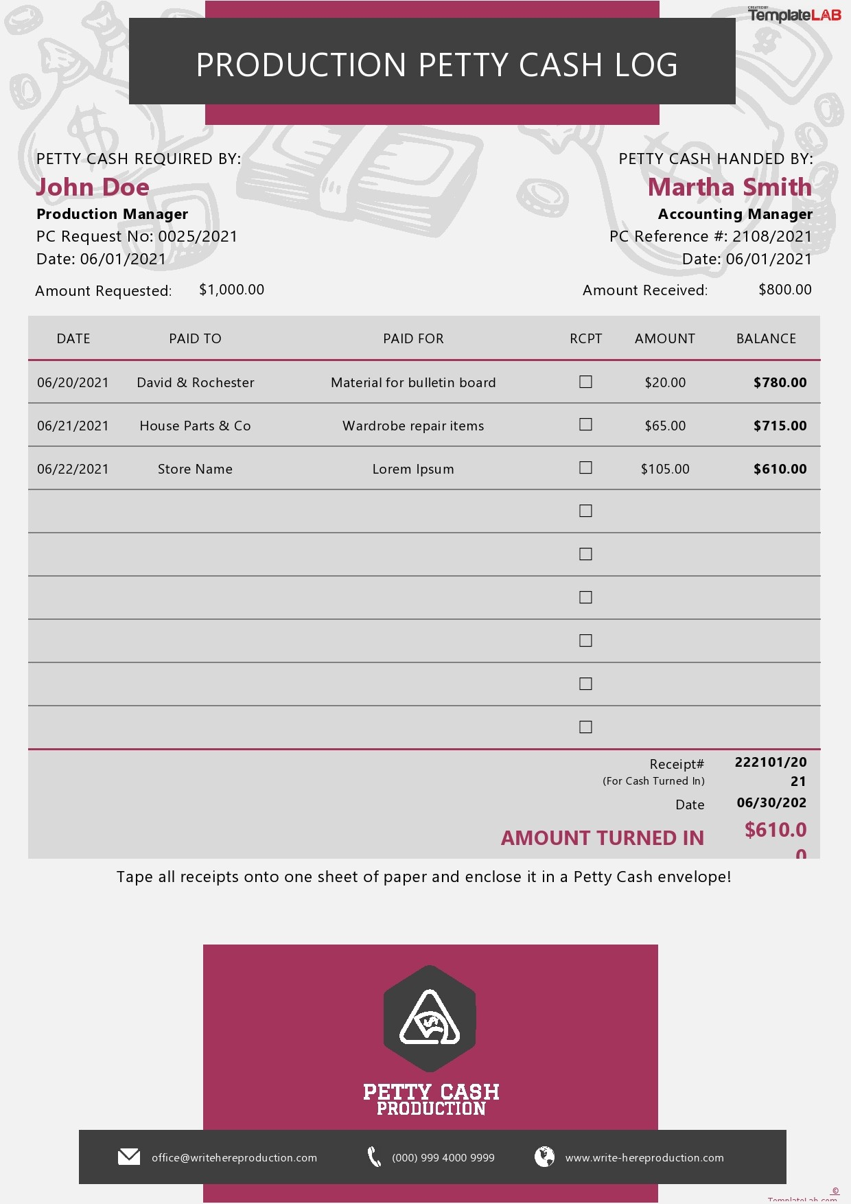 Free Production Petty Cash Log Template - TemplateLab.com