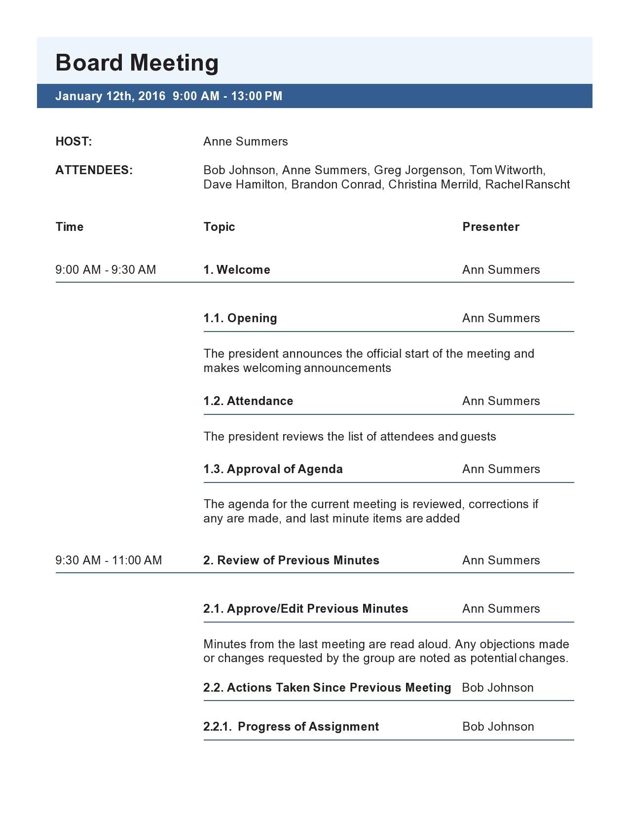 Free board meeting agenda 04