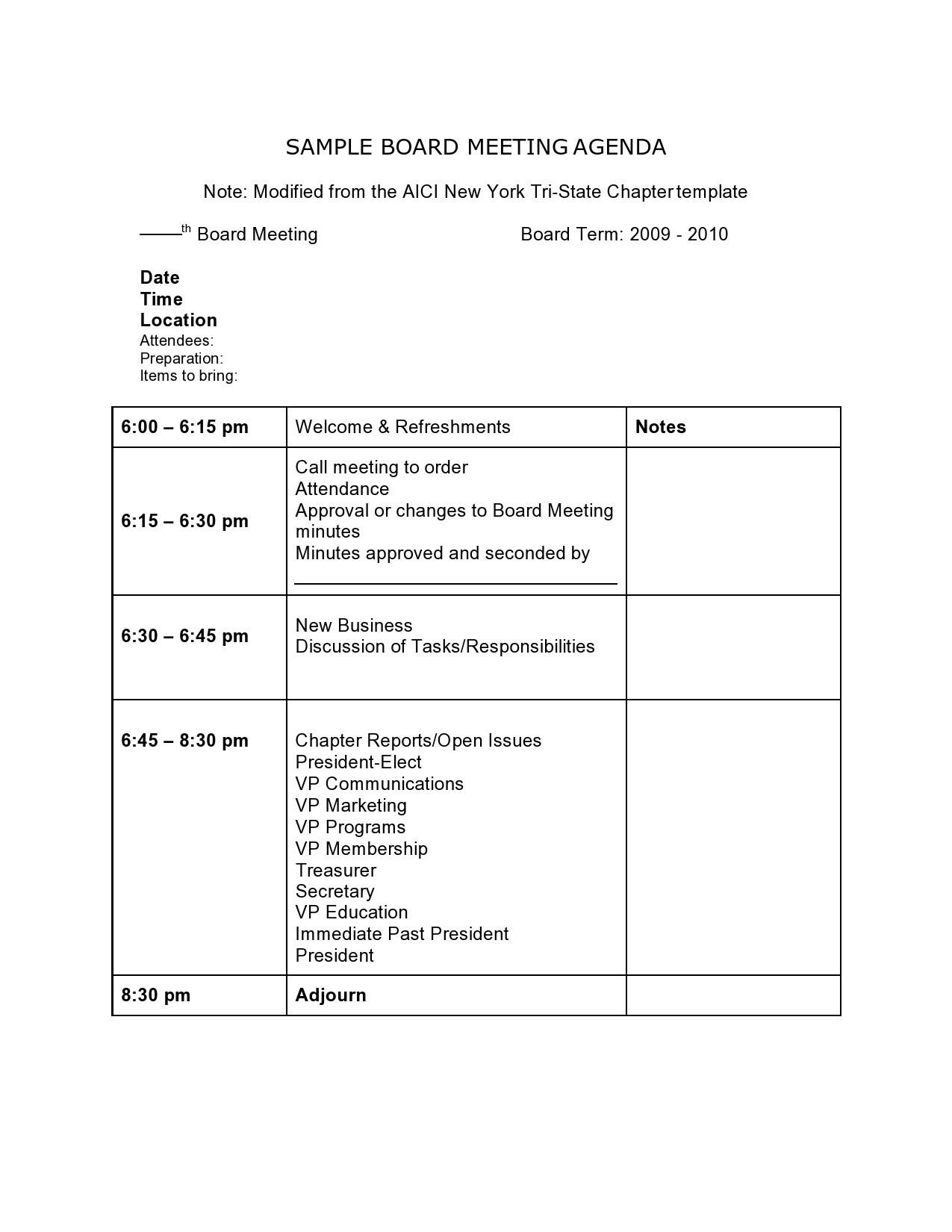 Free board meeting agenda 07