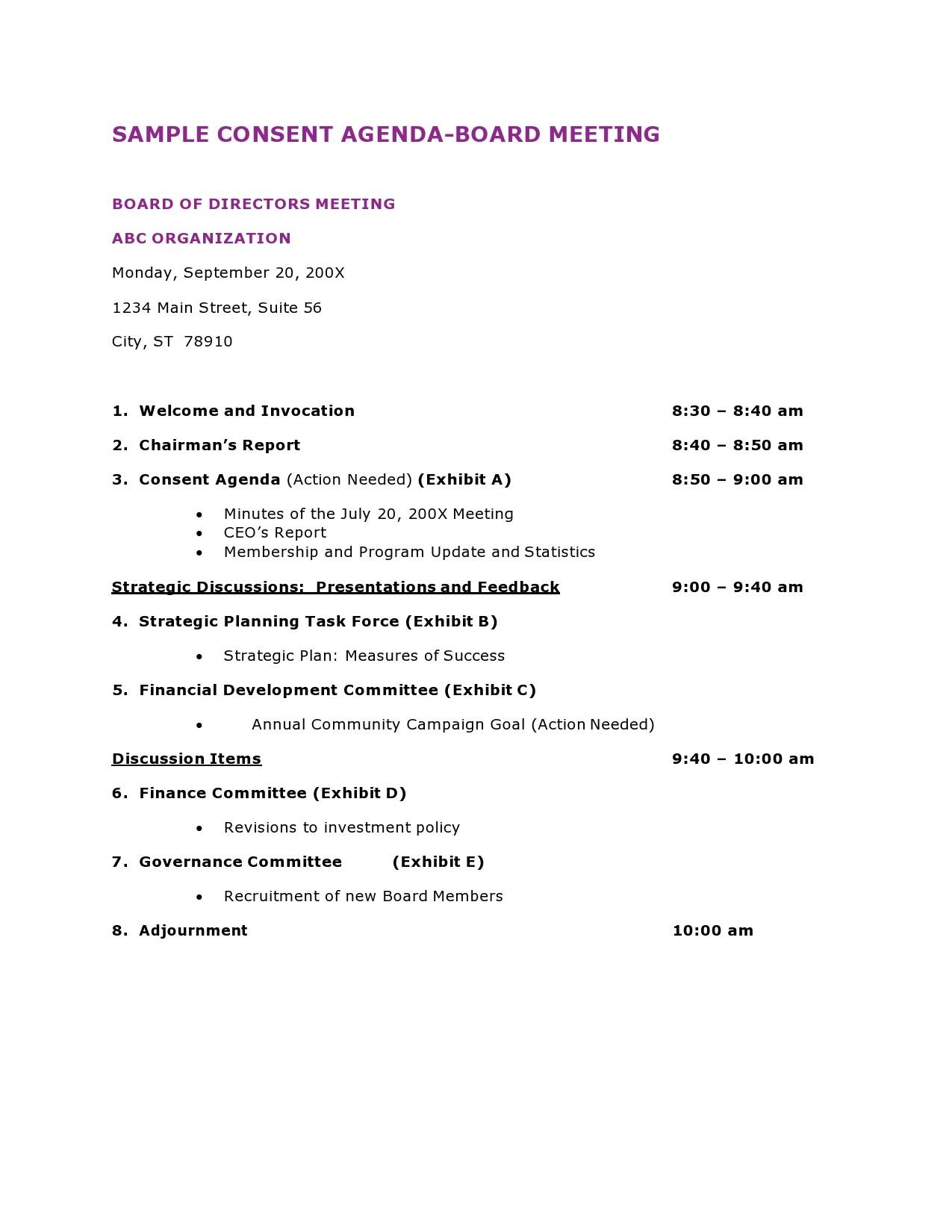 Free board meeting agenda 09