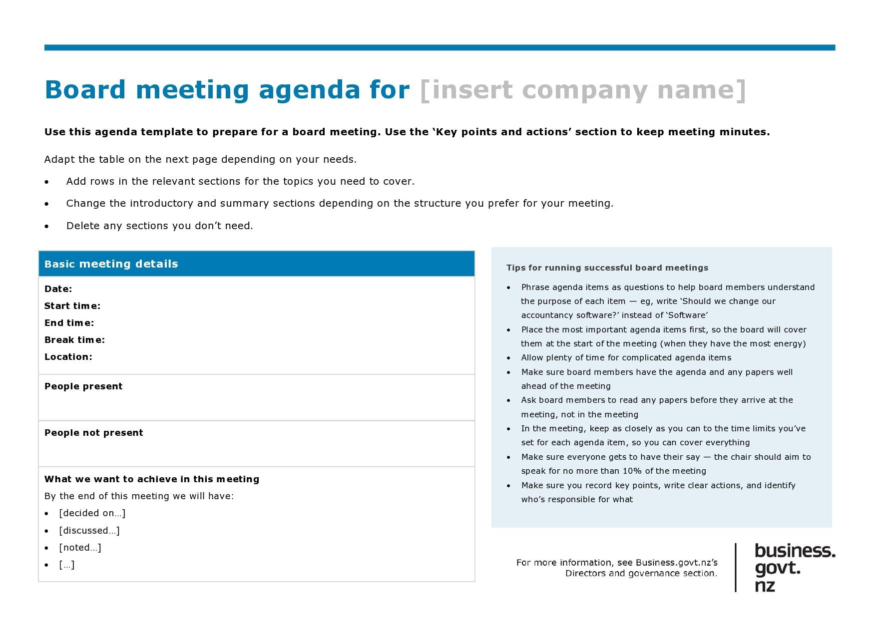 40 Board Meeting Agenda Templates 100 Free Á… Templatelab