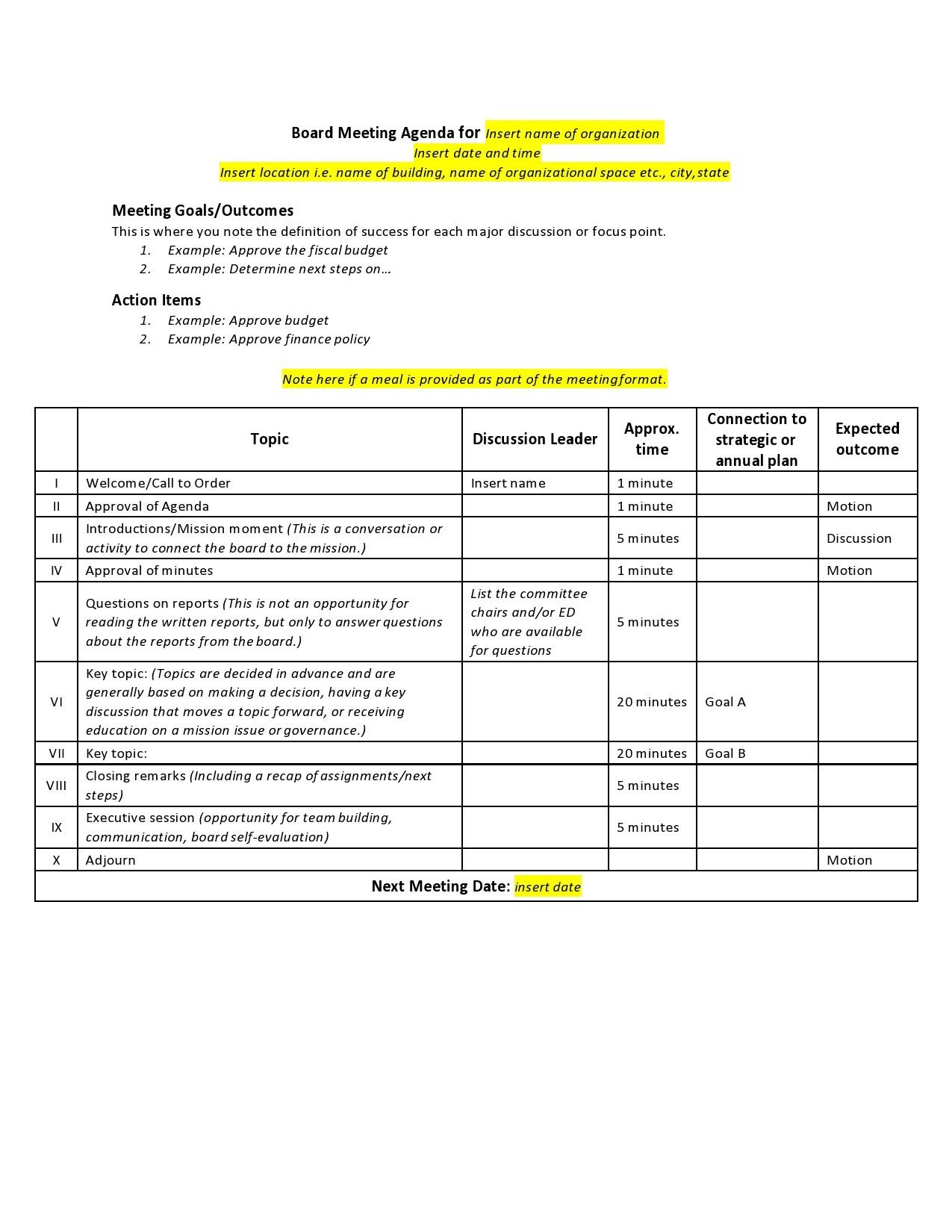 Free board meeting agenda 22