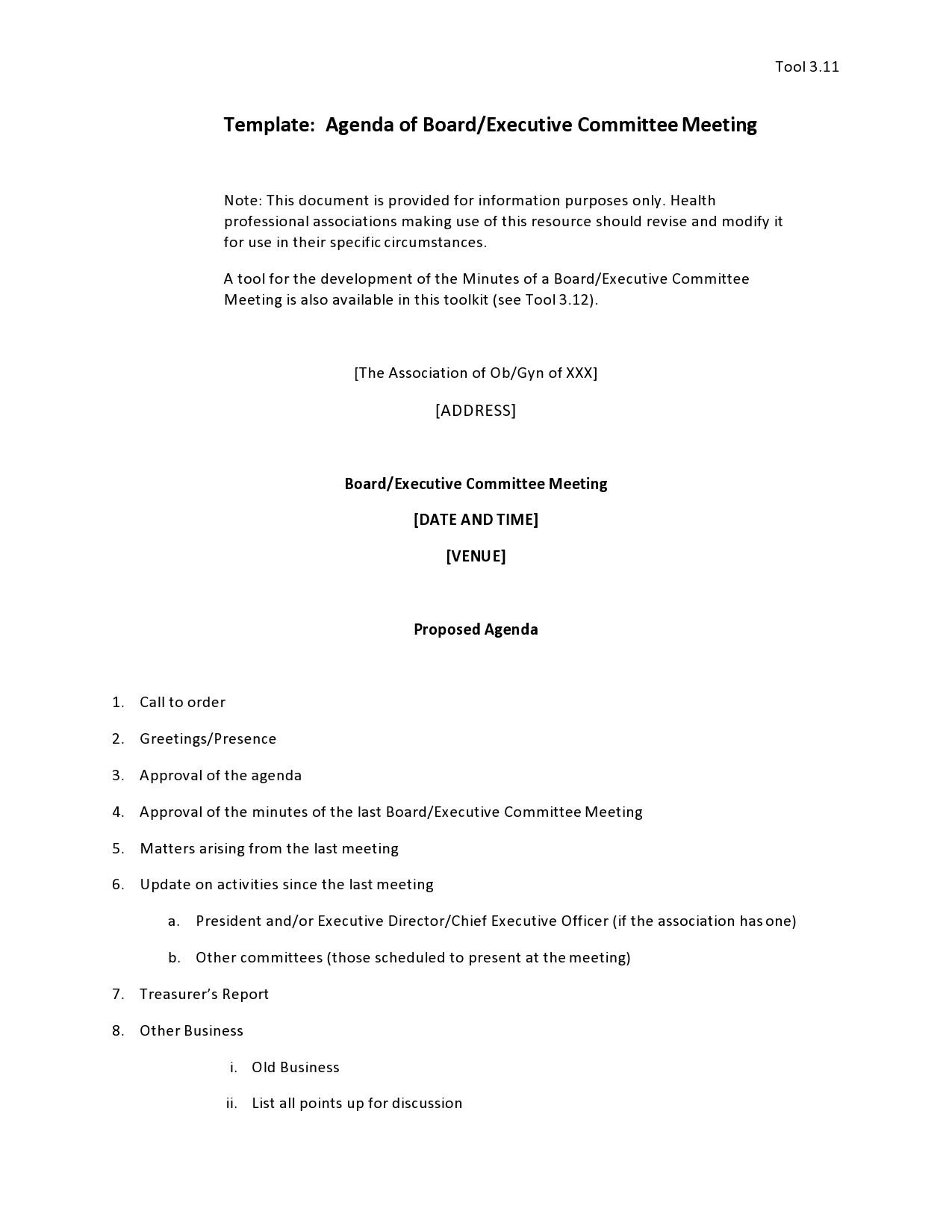 Free board meeting agenda 25
