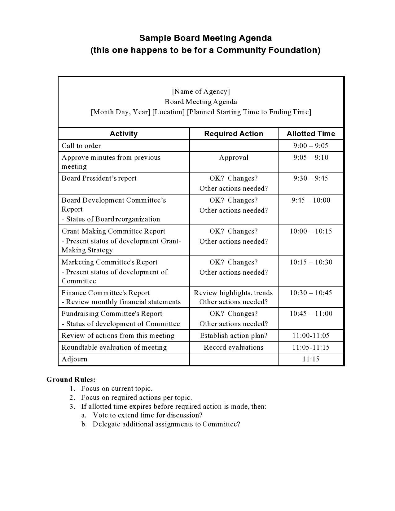 Free board meeting agenda 32