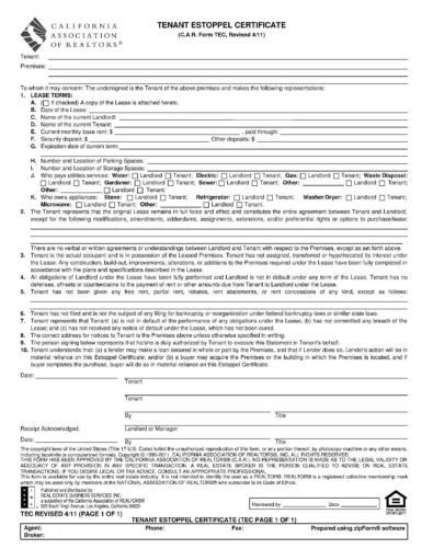 Estoppel Certificate Forms