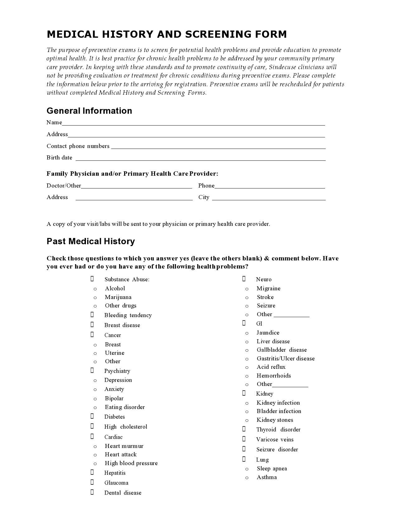 Free health history form 07
