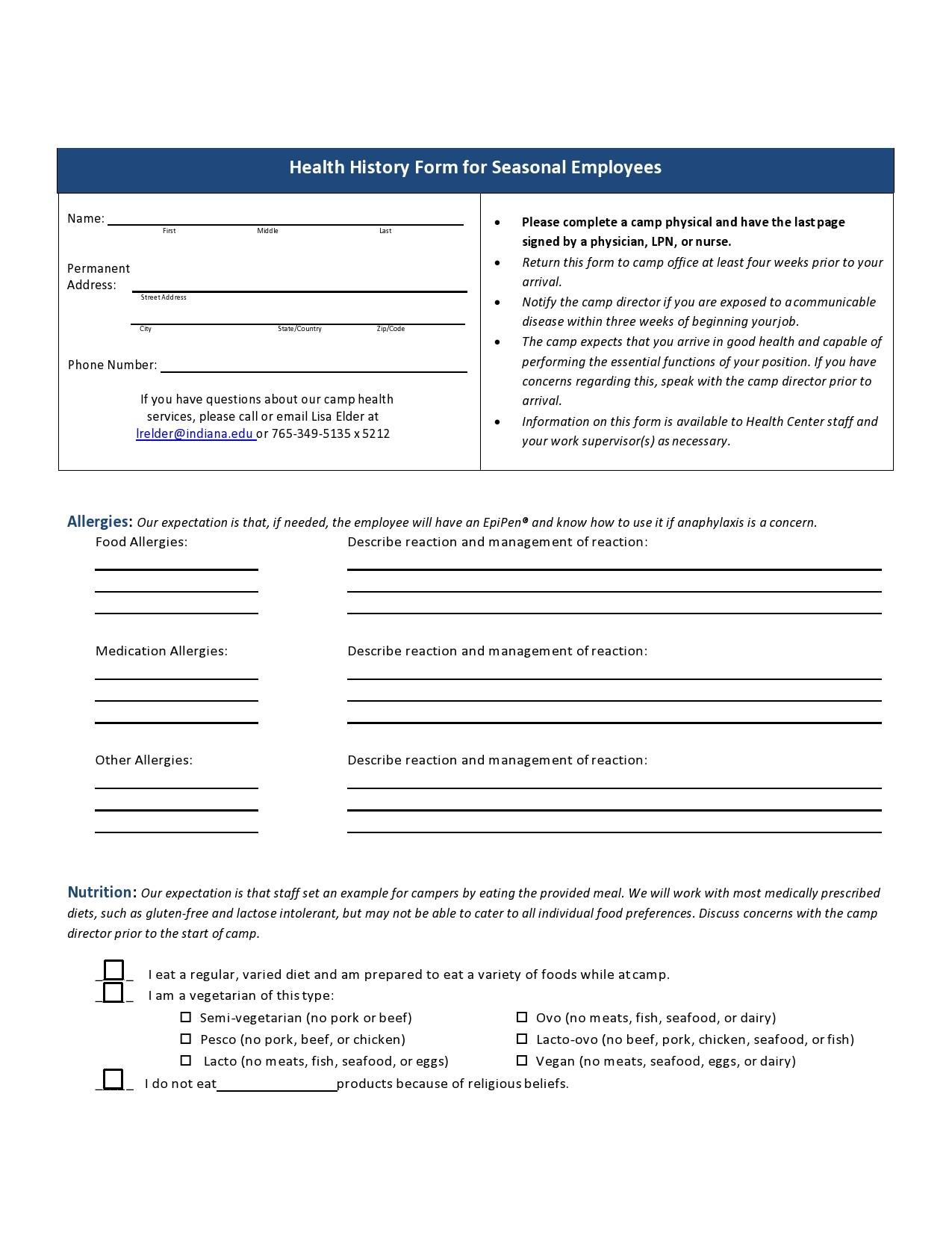 Free health history form 17