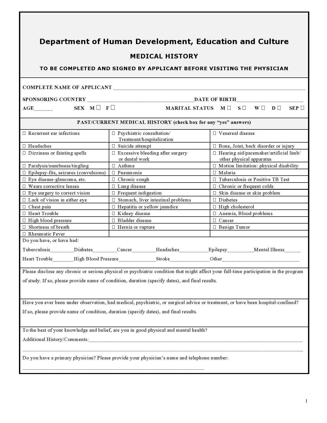 Free health history form 29