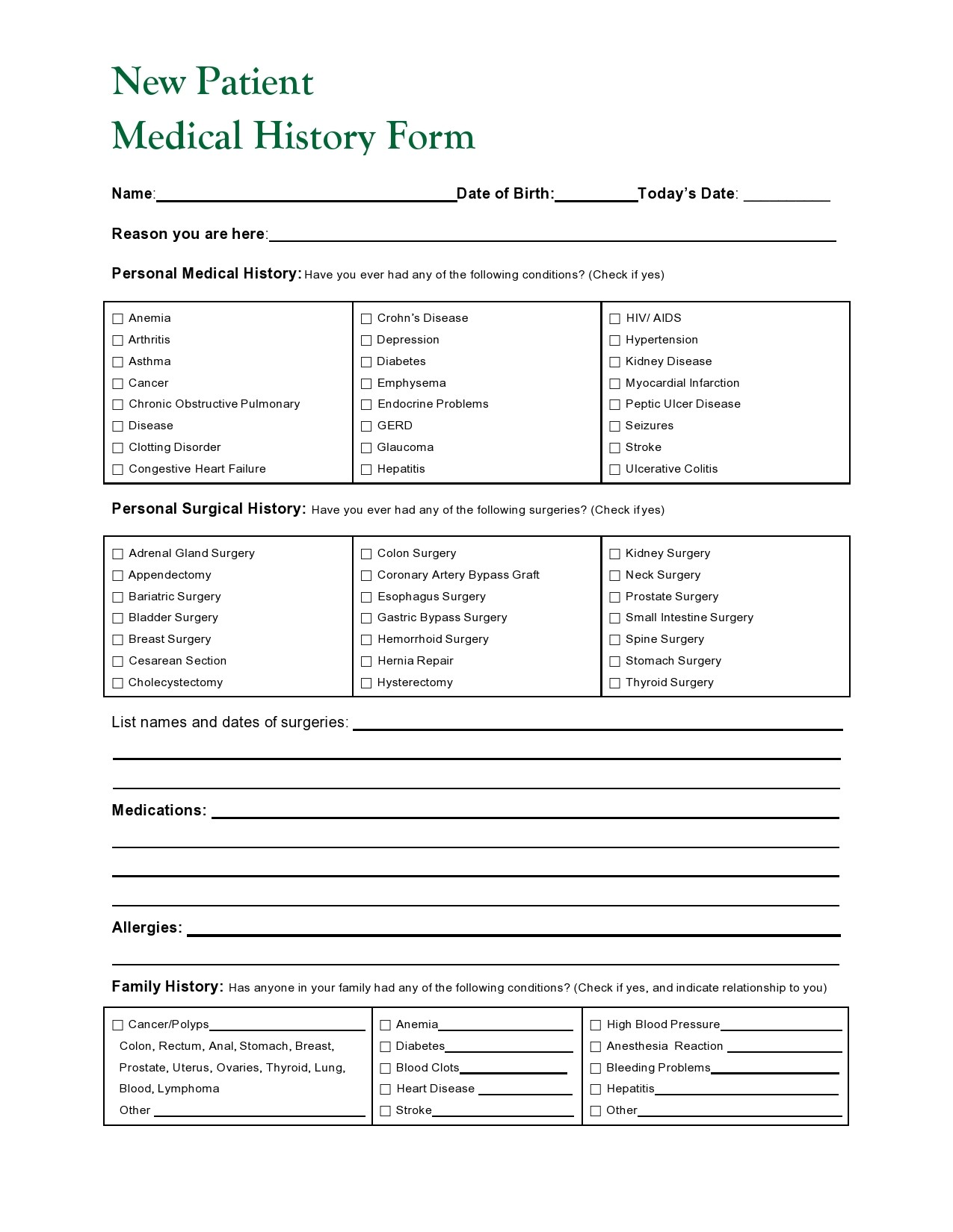 Free health history form 30