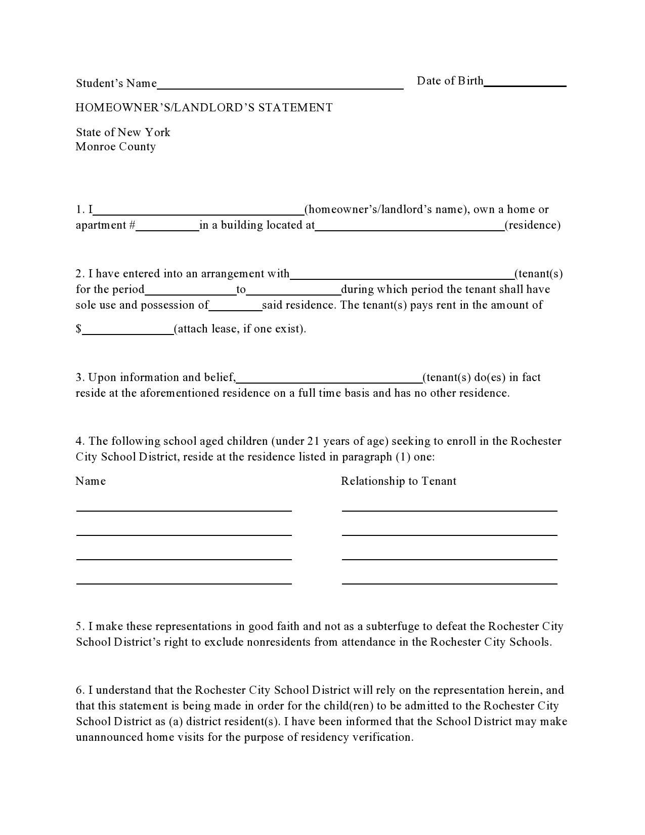 Free landlord statment 10