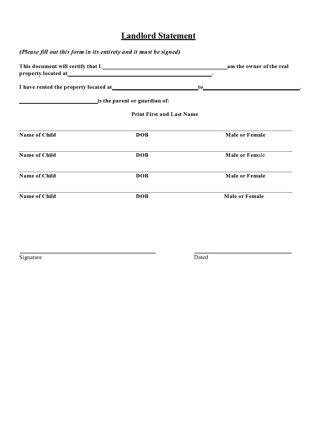 Free landlord statment 17