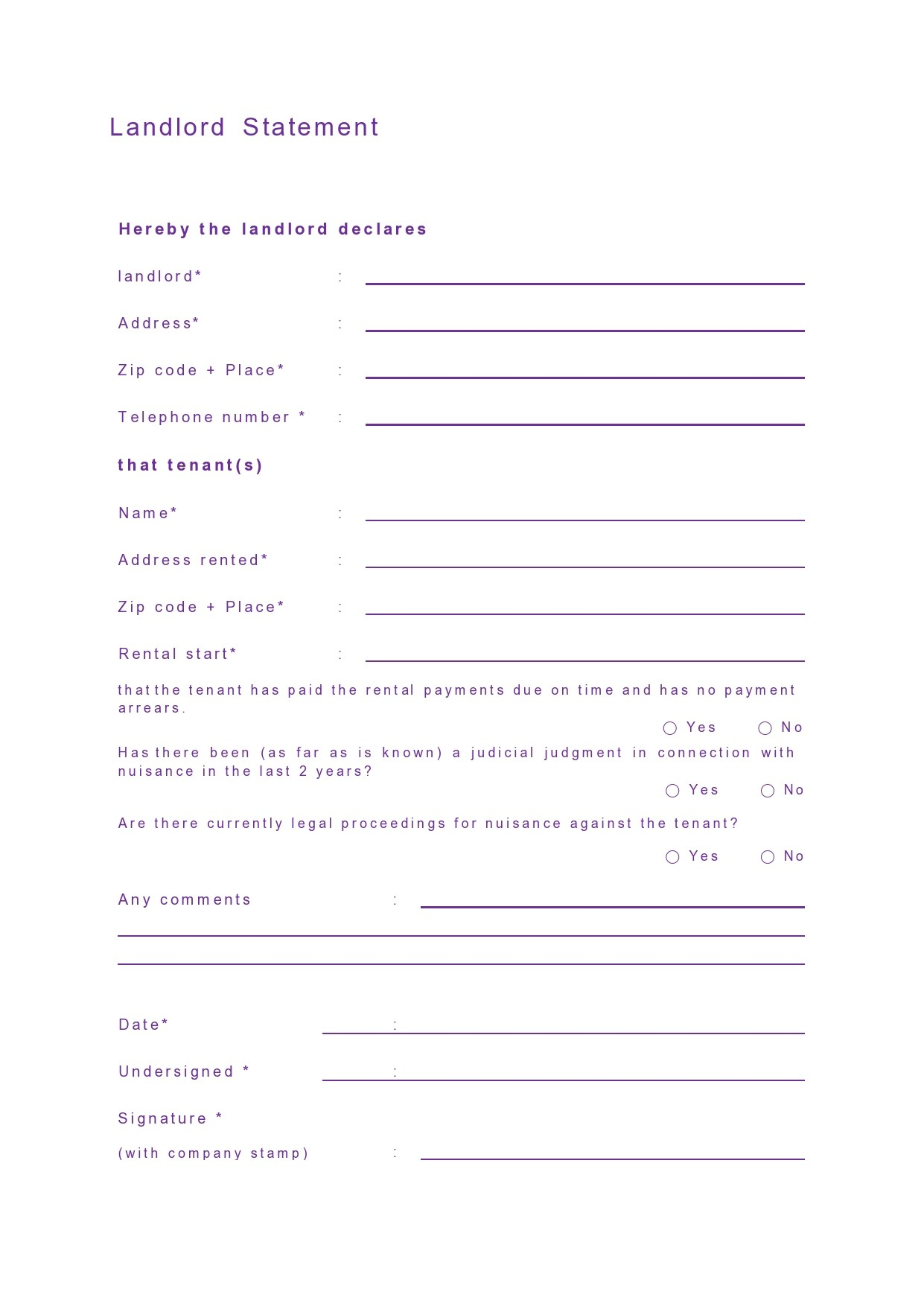 Free landlord statment 18