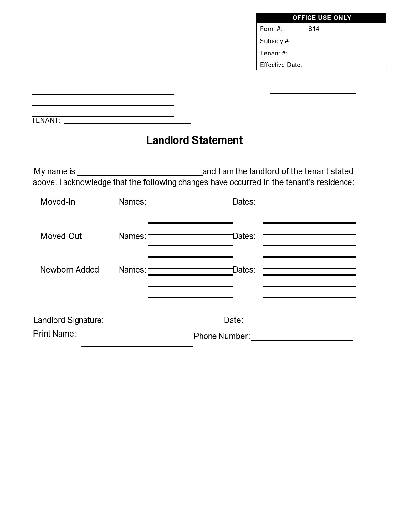 Free landlord statment 32