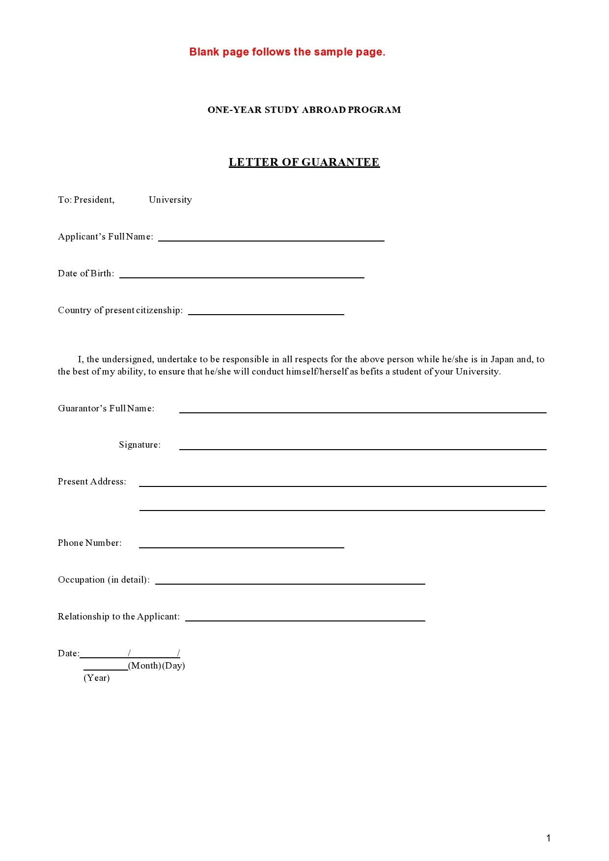 Free letter of guarantee 01