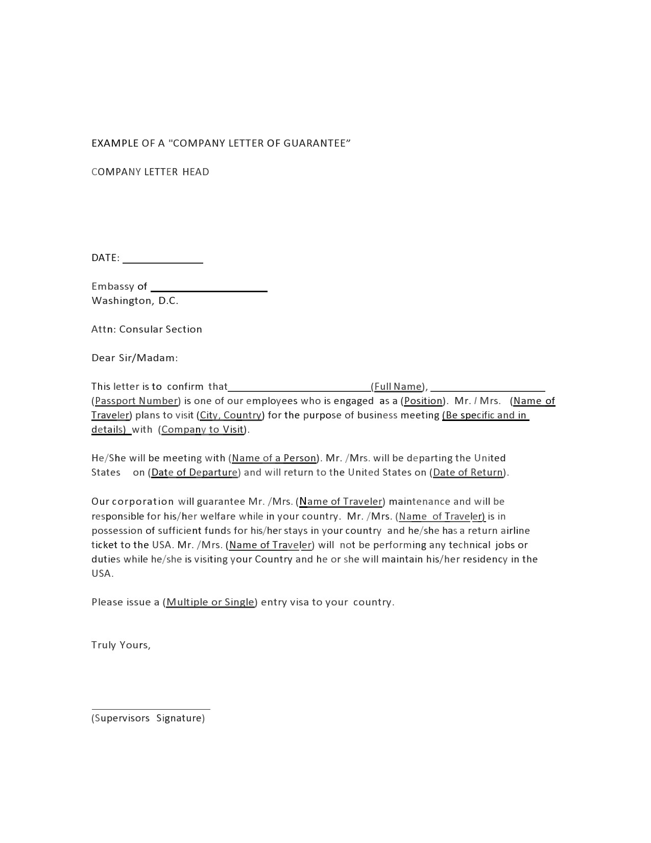 Free letter of guarantee 05